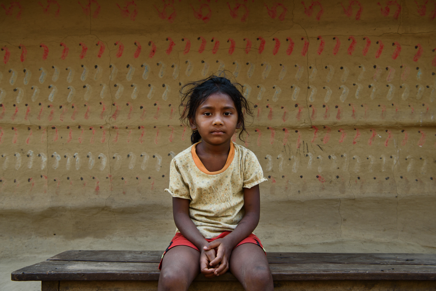 Pratigya Majhi (5) studies in nursery grade and is the only child in the Malpur villagecommunity attending a private school. Pratigya's education is supported by a foreigner through a scholarship.
