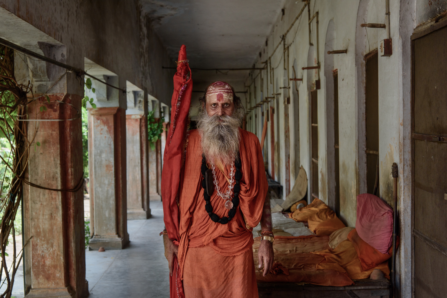 A sadhu at the men's accomodation section of Mumukshu Bhawan in Varanasi.