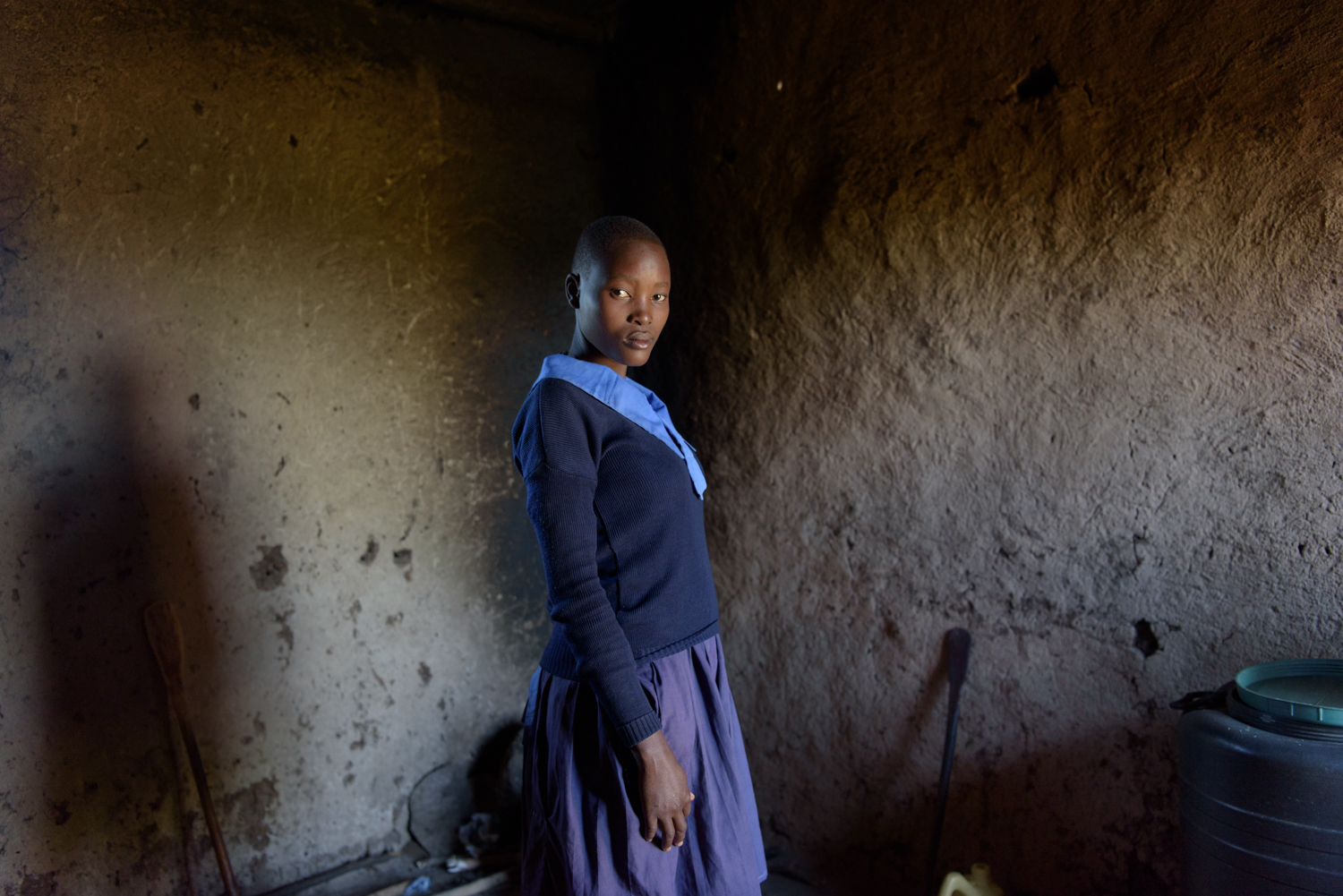D.R., 16, studies at the Ngukumahando Primary School and runs home everyday during lunch break to breastfeed her newborn. D.'s family is supportive and her mother takes care of her child when she is at school.