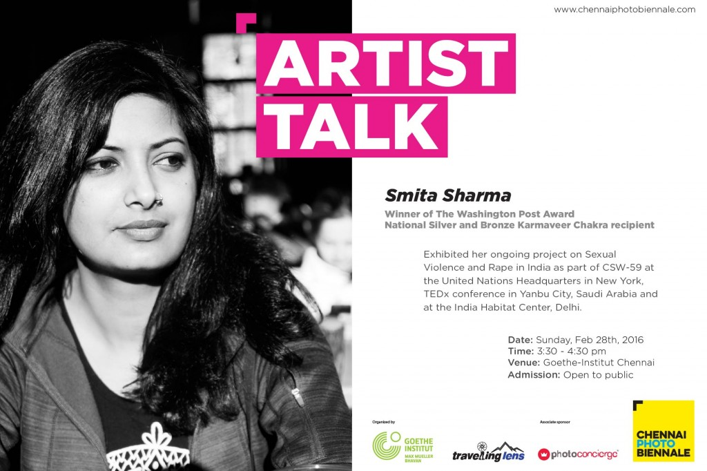 "Artist Talk - "" Not My Shame""  at Chennai Photo Biennale, Chennai, India, 2016."