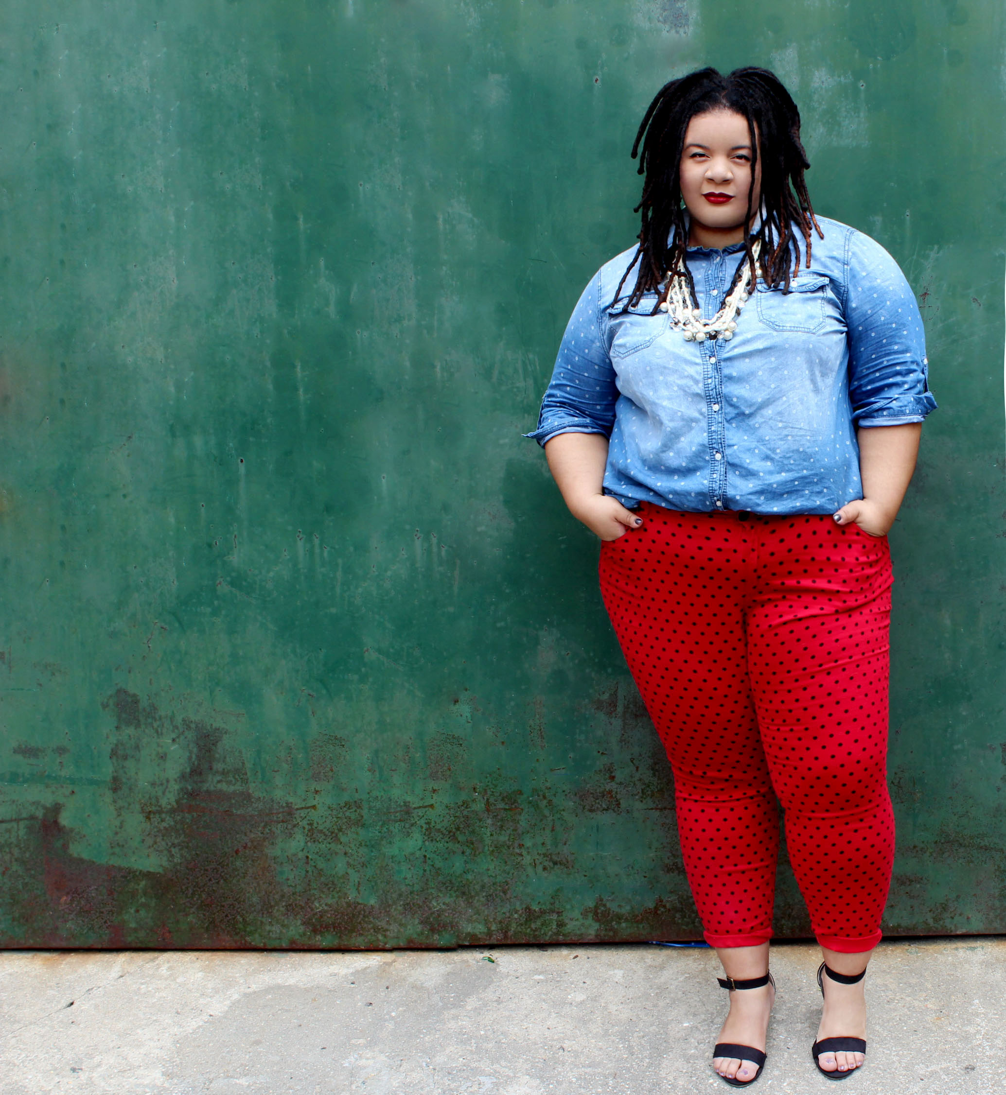 red plus size polka dot pants