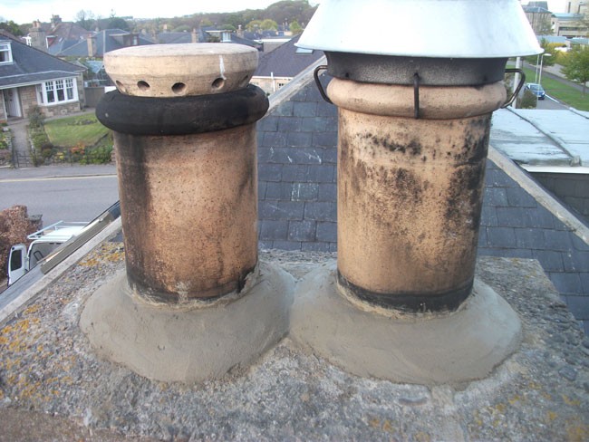 We also inspect the top of your system, here some repairs were required to the fixing of the chimney pots.