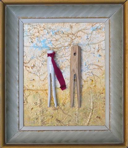 MAALAISPOIKA JA KAUPUNKILAISSERKKU  esinesommitelma, maalaus, tarina  27 x 32 cm  260,-