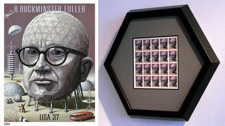 custom hexagonal frame for R. Buckminster Fuller stamp collection