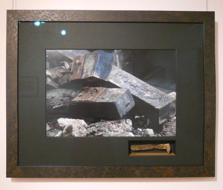 photo and small shadow box for railroad spike