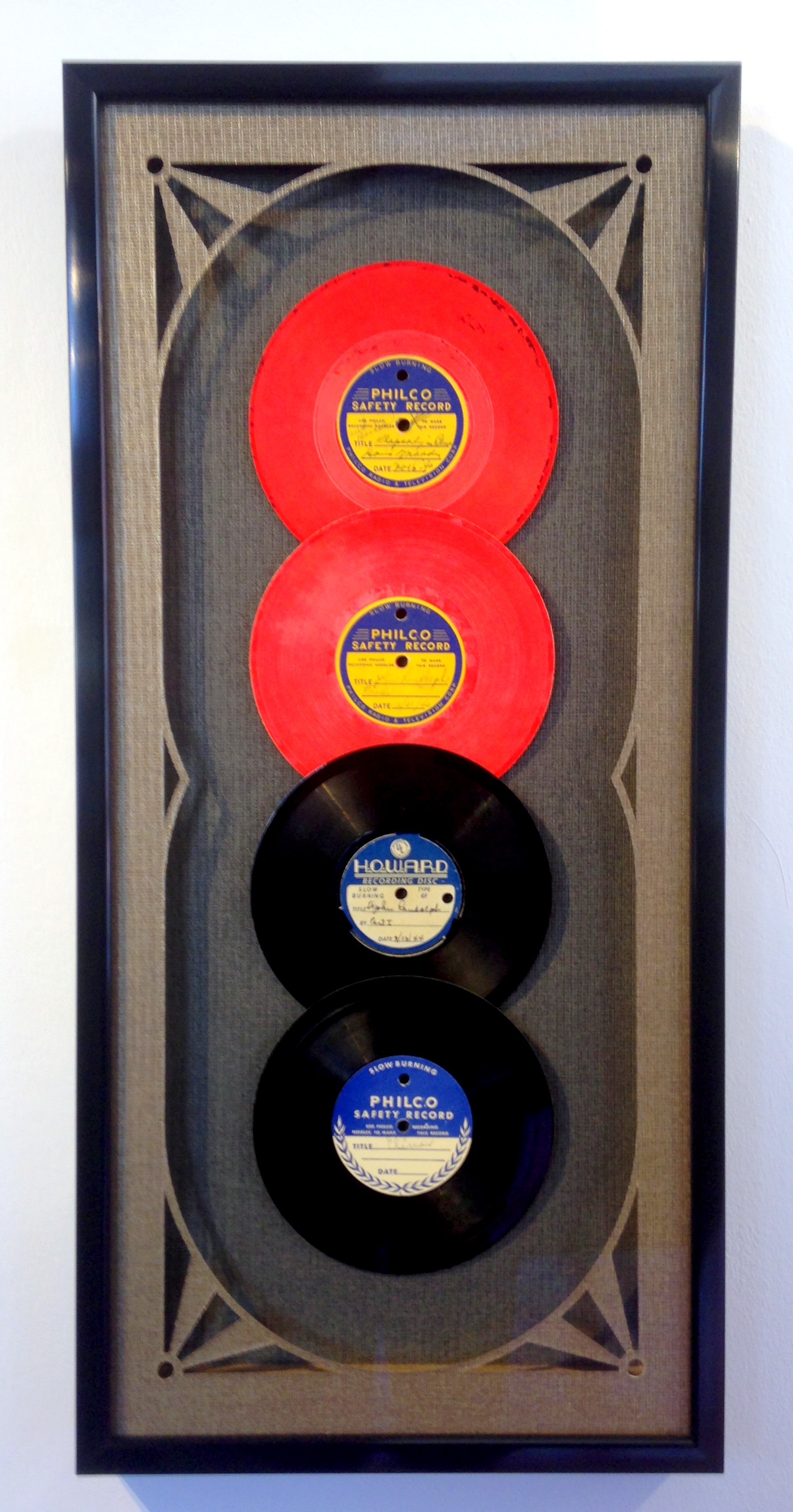 vintage records with art deco framing