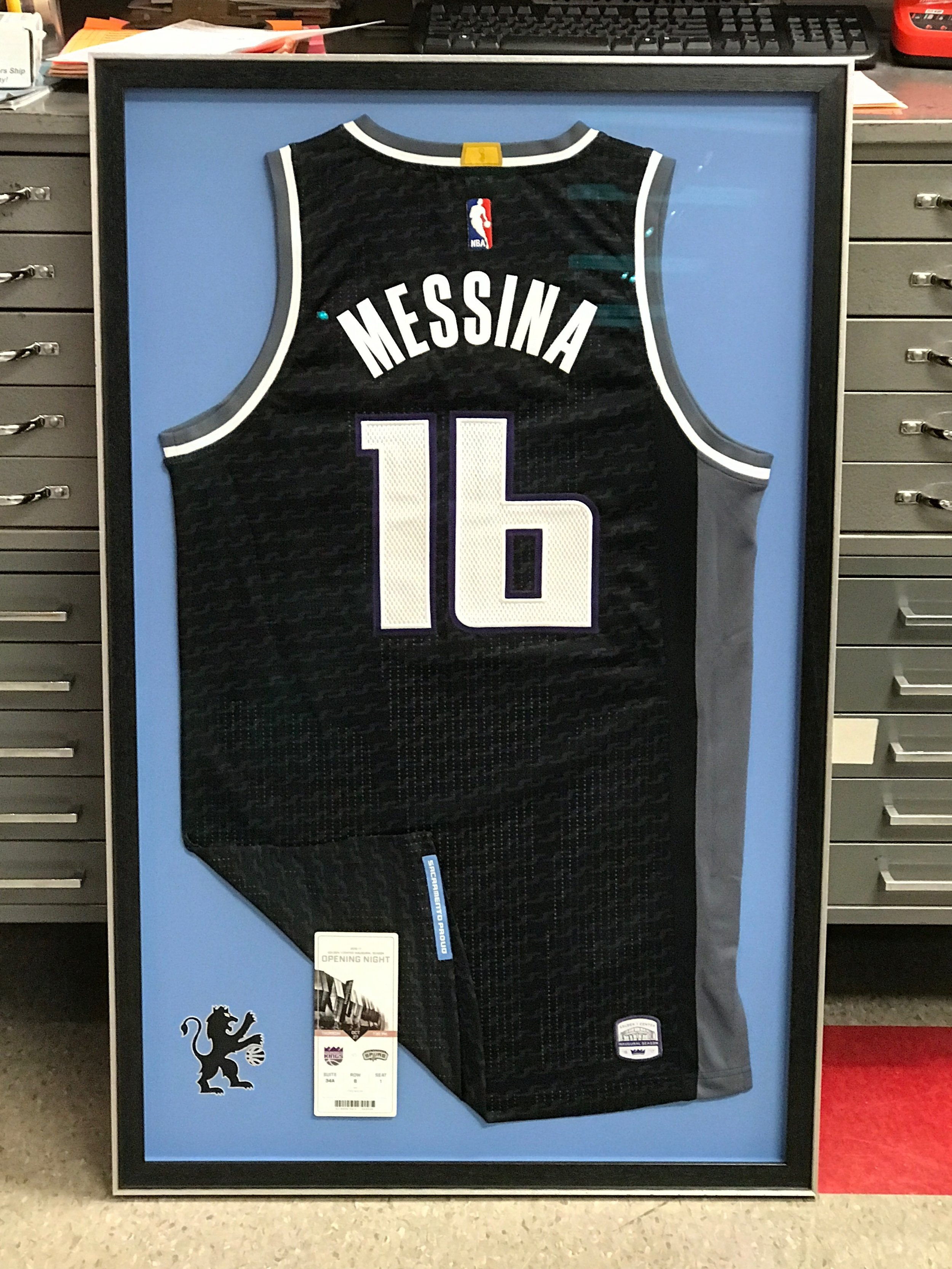 Sacramento Kings jersey with ticket and logo