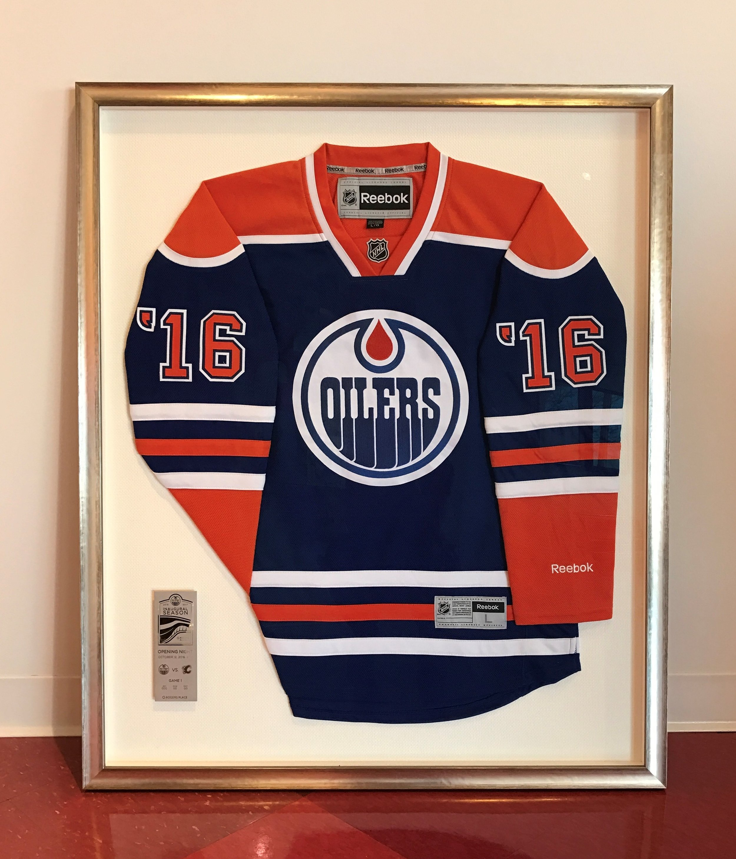 Oilers hockey jersey with ticket stub