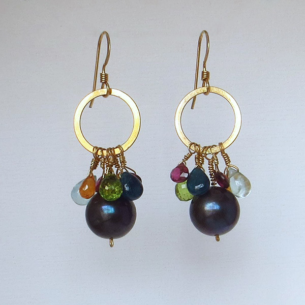 Silvia earrings can be made with any assortment of birthstones.