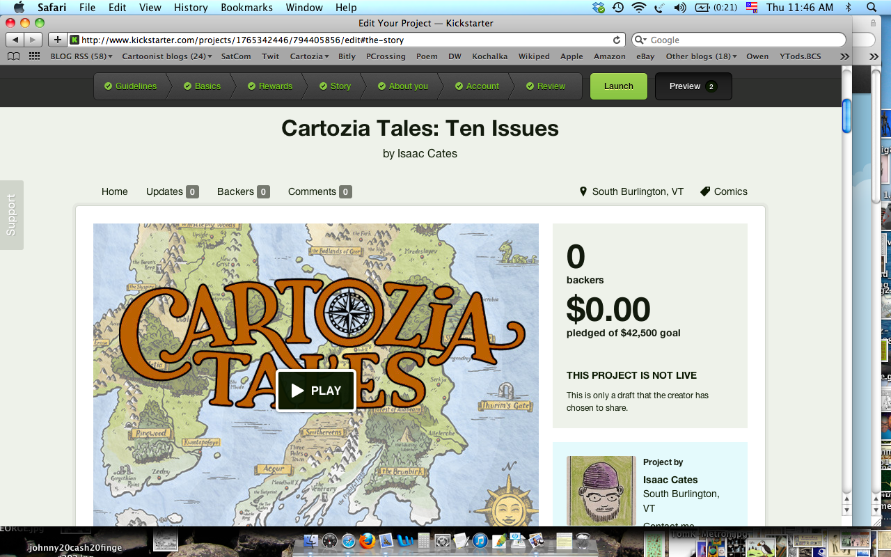 A shot of the Kickstarter page, in progress, this morning.