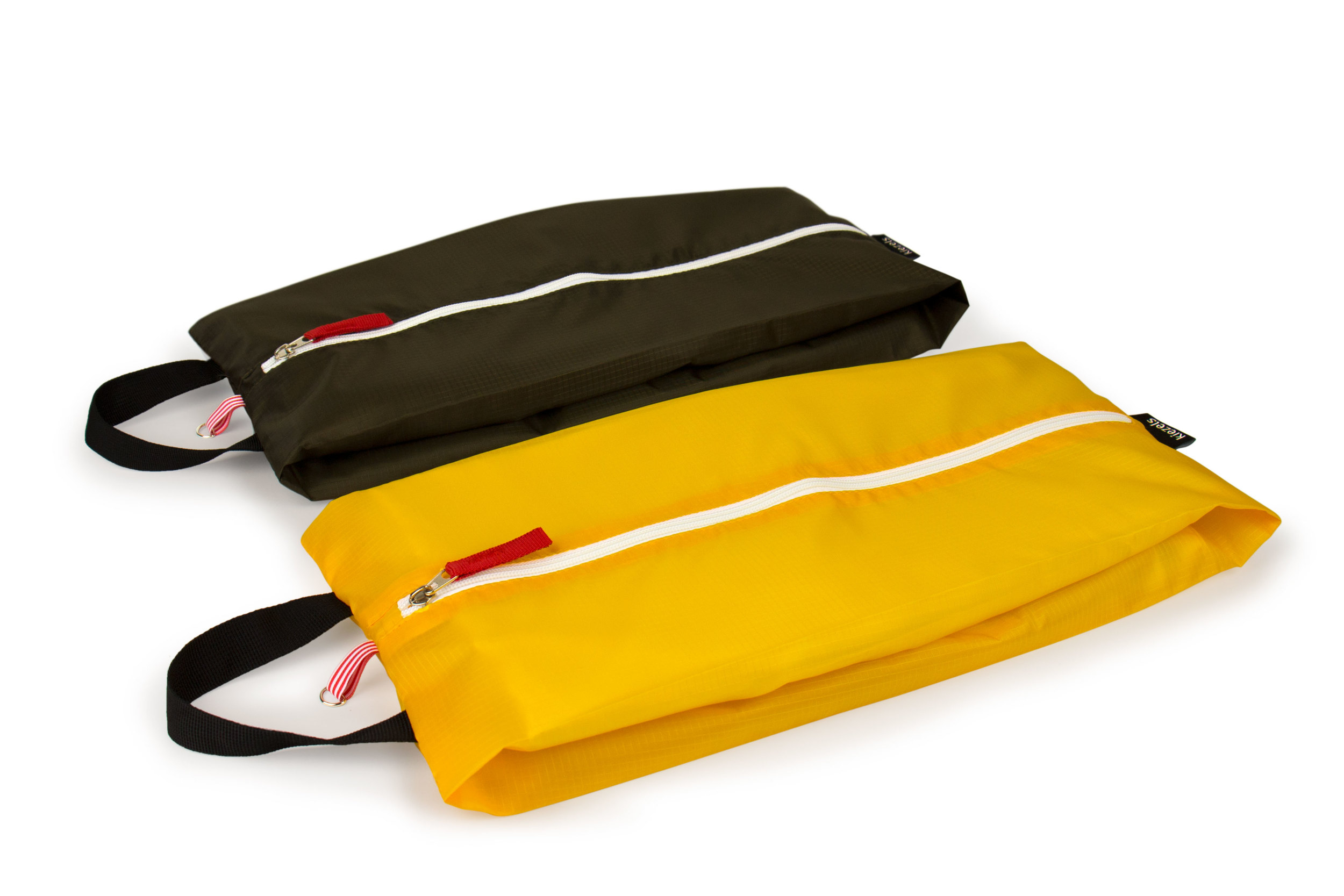 No. 310 Travel organiser bags / shoe bags - size L - armee green & yellow € 21,-