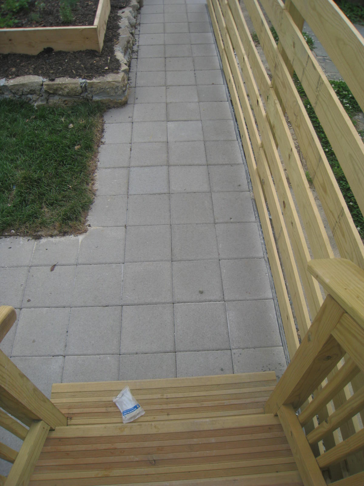 This paver path is pervious and allows water to infiltrate into the ground