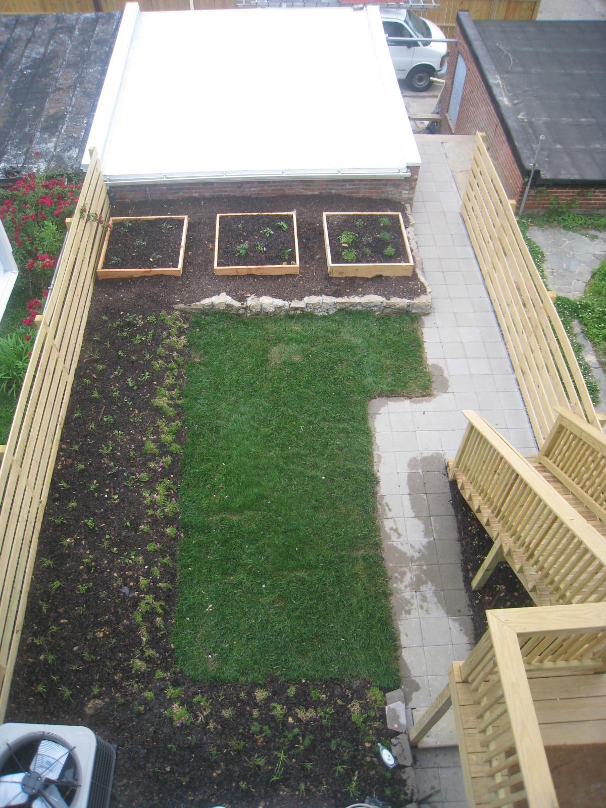 The backyard and garage