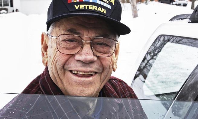 Elderly veteran smiling
