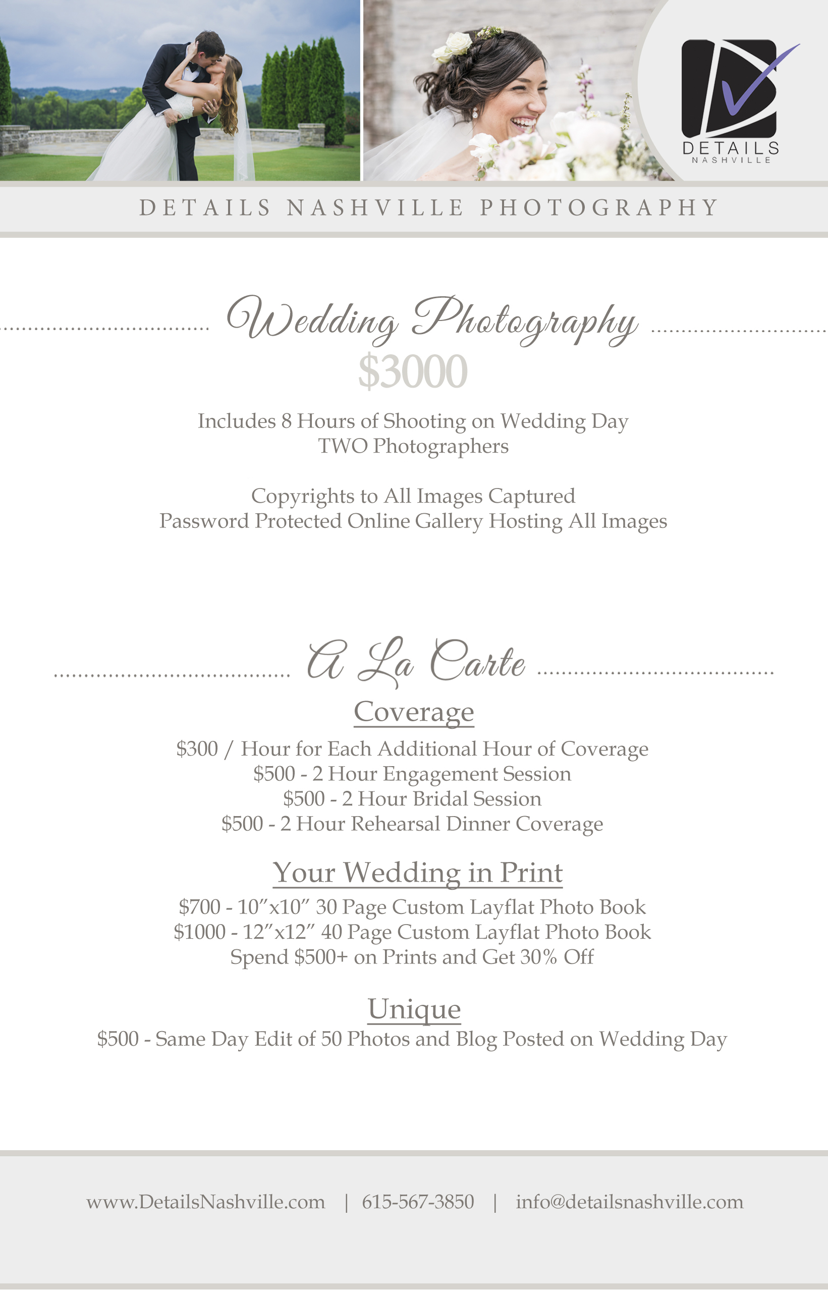 Wedding Photography Pricing.Photography Prices Details Nashville
