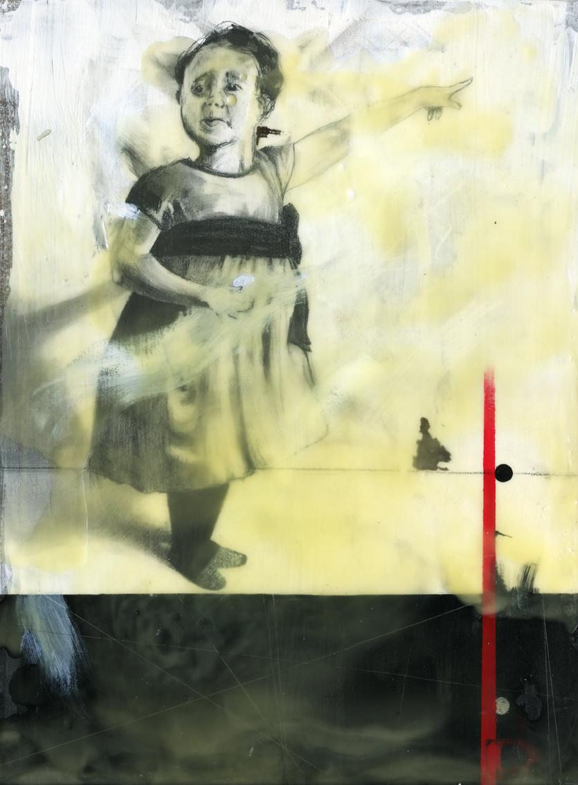 graphite, acrylic, ink, beeswax on panel. 16x20.  2014