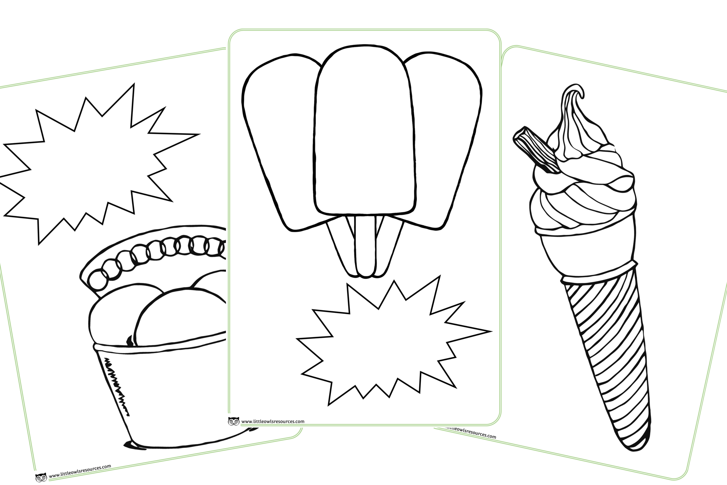 Ice Cream Themed Colouring Pages/Posters/Activity