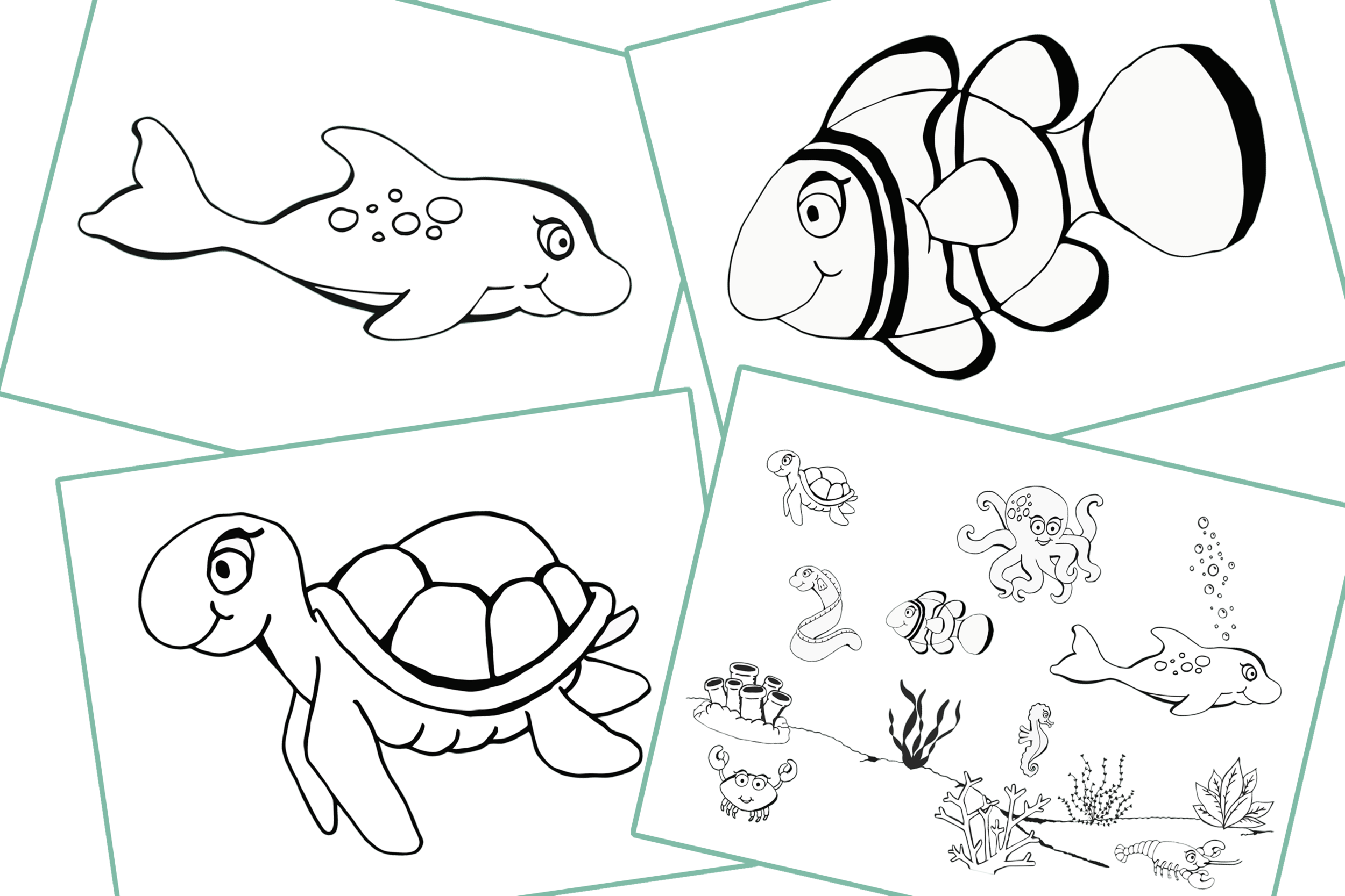 Sea Animals/Creatures Theme/Topic Colouring Pages/Activity