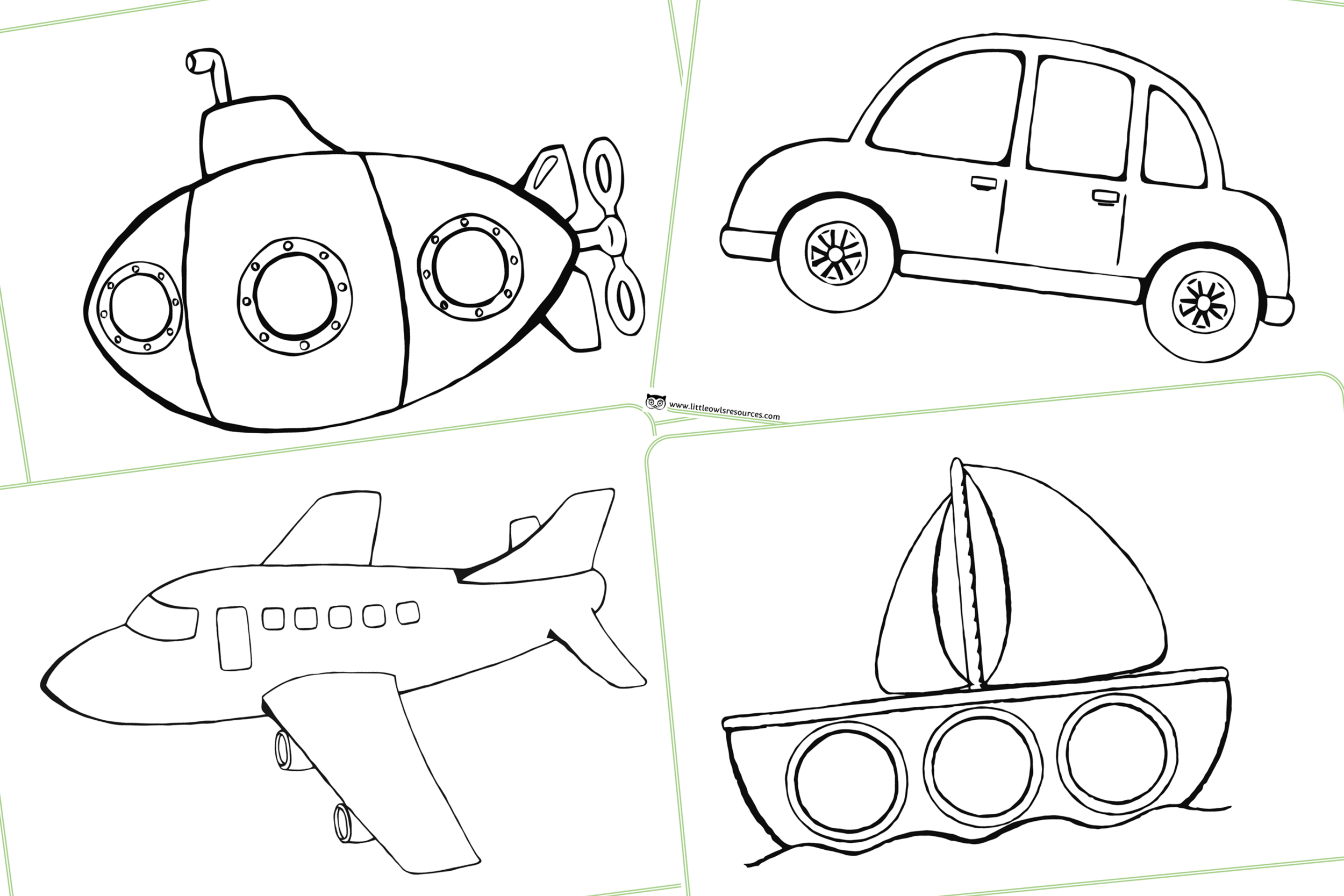 Free Colouring Vehicles Early Years Eyfs Printable Resource Little Owls Resources Free