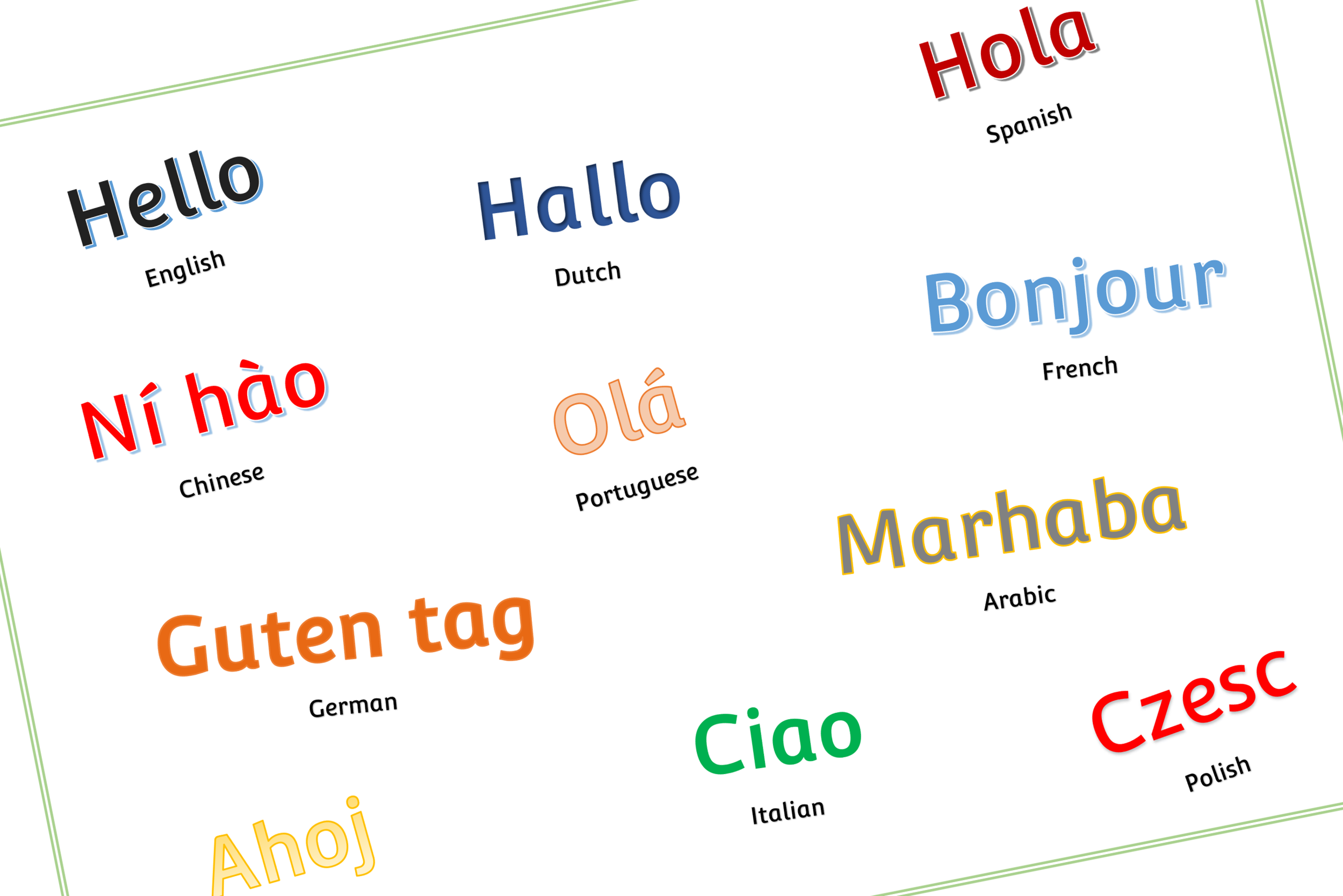 graphic relating to Printable Poster identified as Free of charge Hello there languages Poster Early Several years (EYFS) Printable