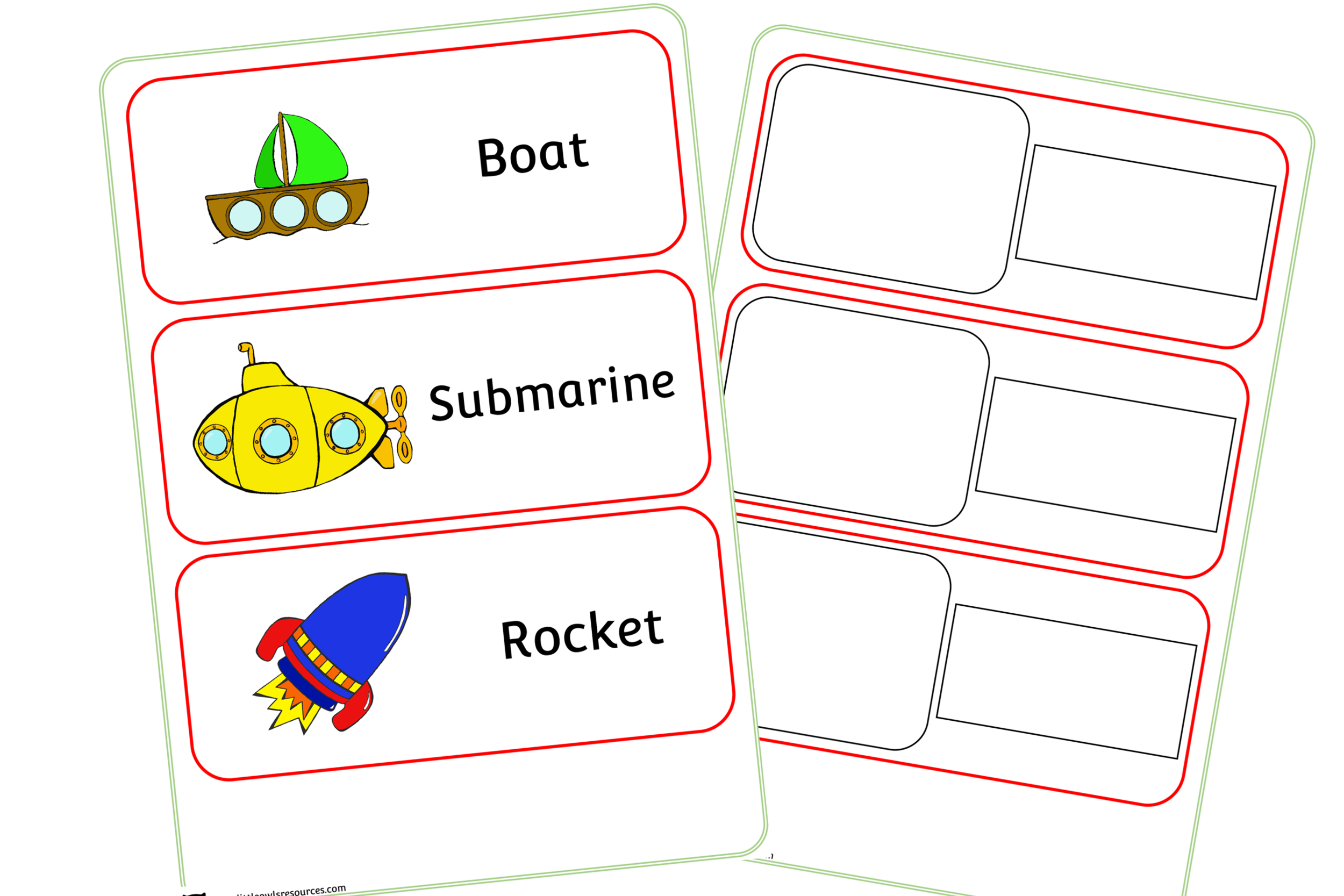 Vehicle/Transport/Travel Word Cards