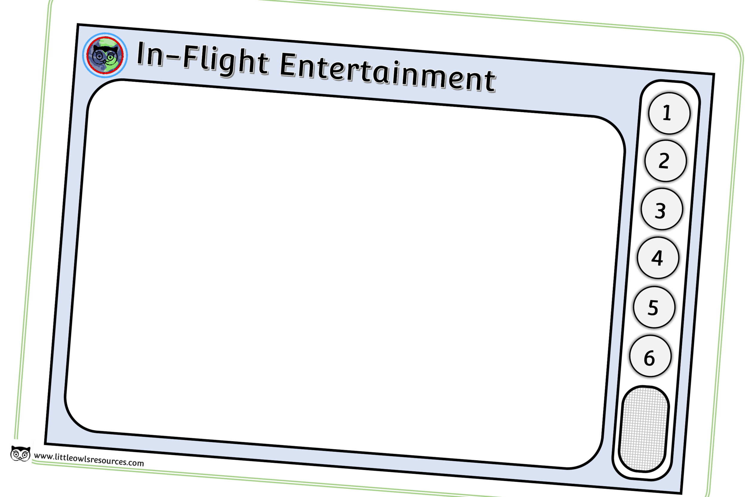 Aeroplane In-Flight TV/Entertainment Screen Role-Play/Mark Making Prompt/Activity