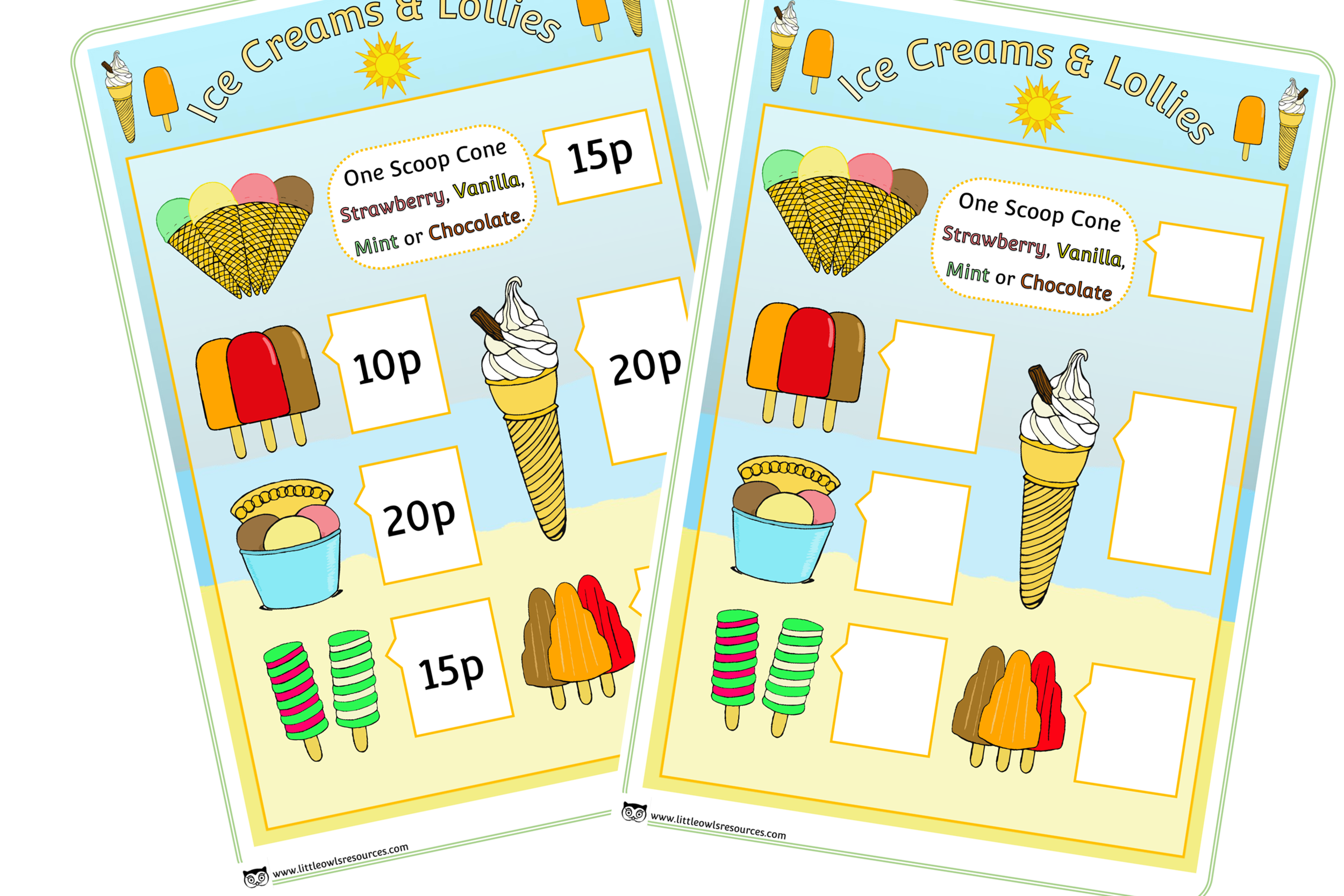 FREE Ice Cream Shop role-play Menu printable activity/game