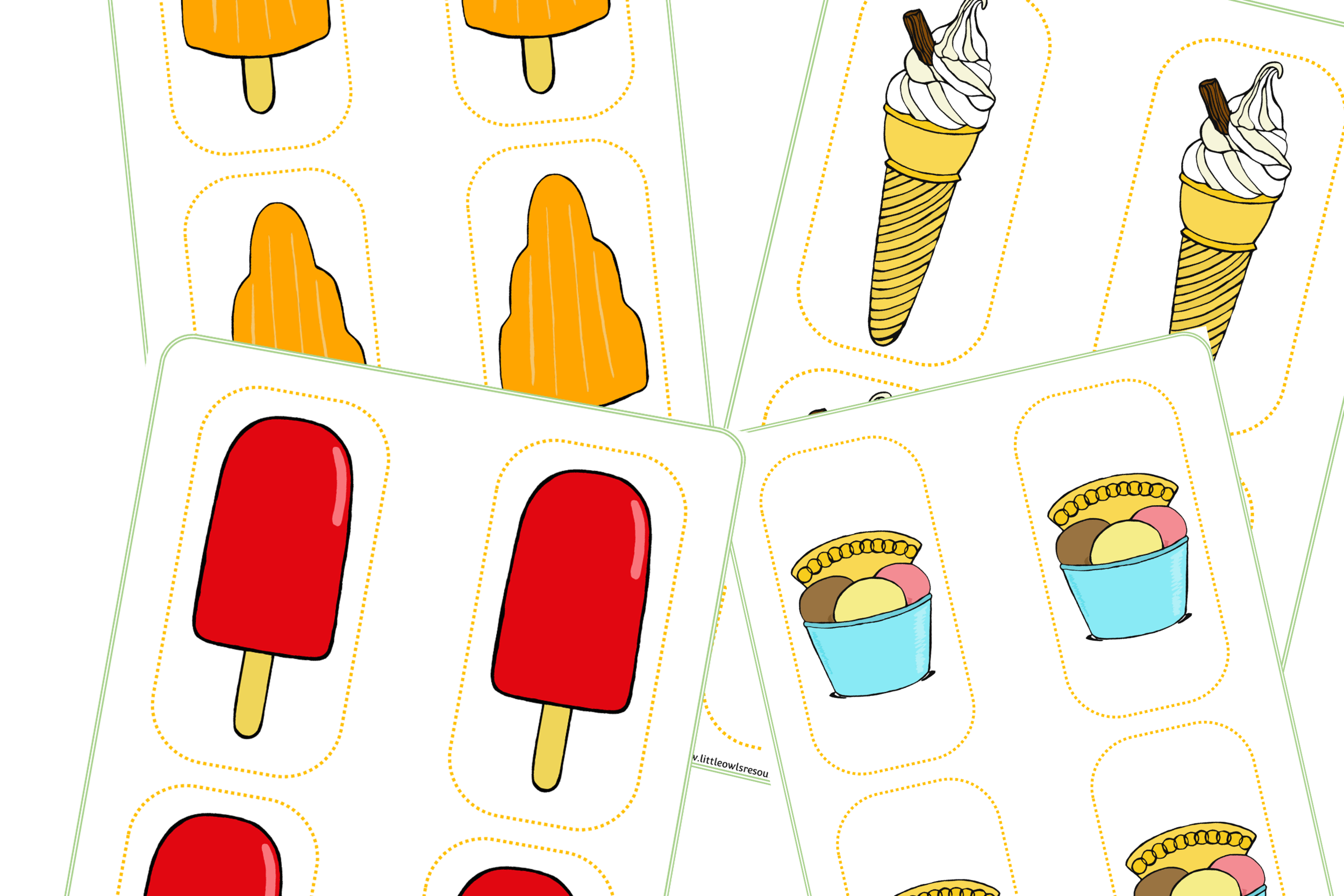 Ice Cream Shop Role-Play Food Cards