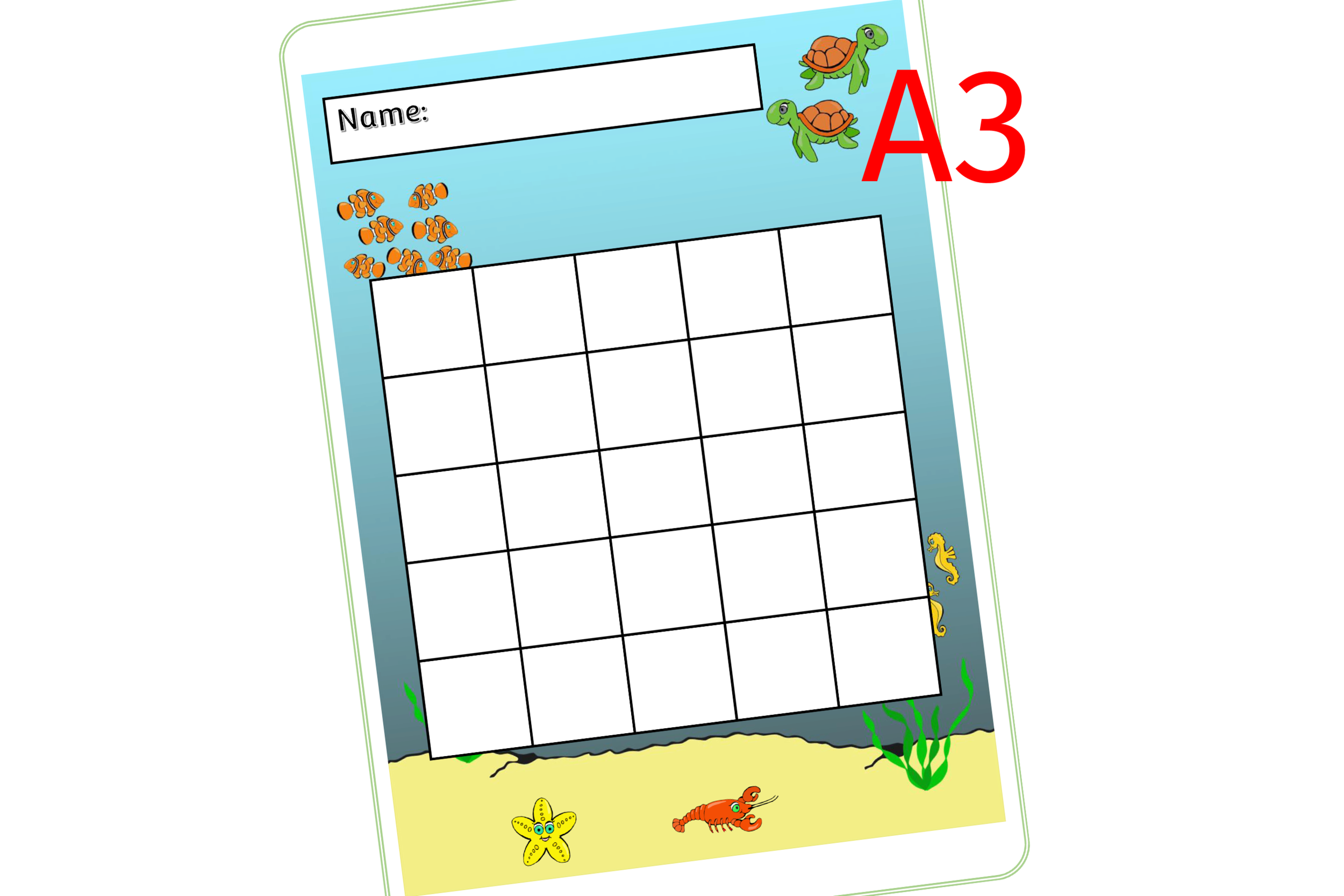 Sea Animals Reward Chart - A3