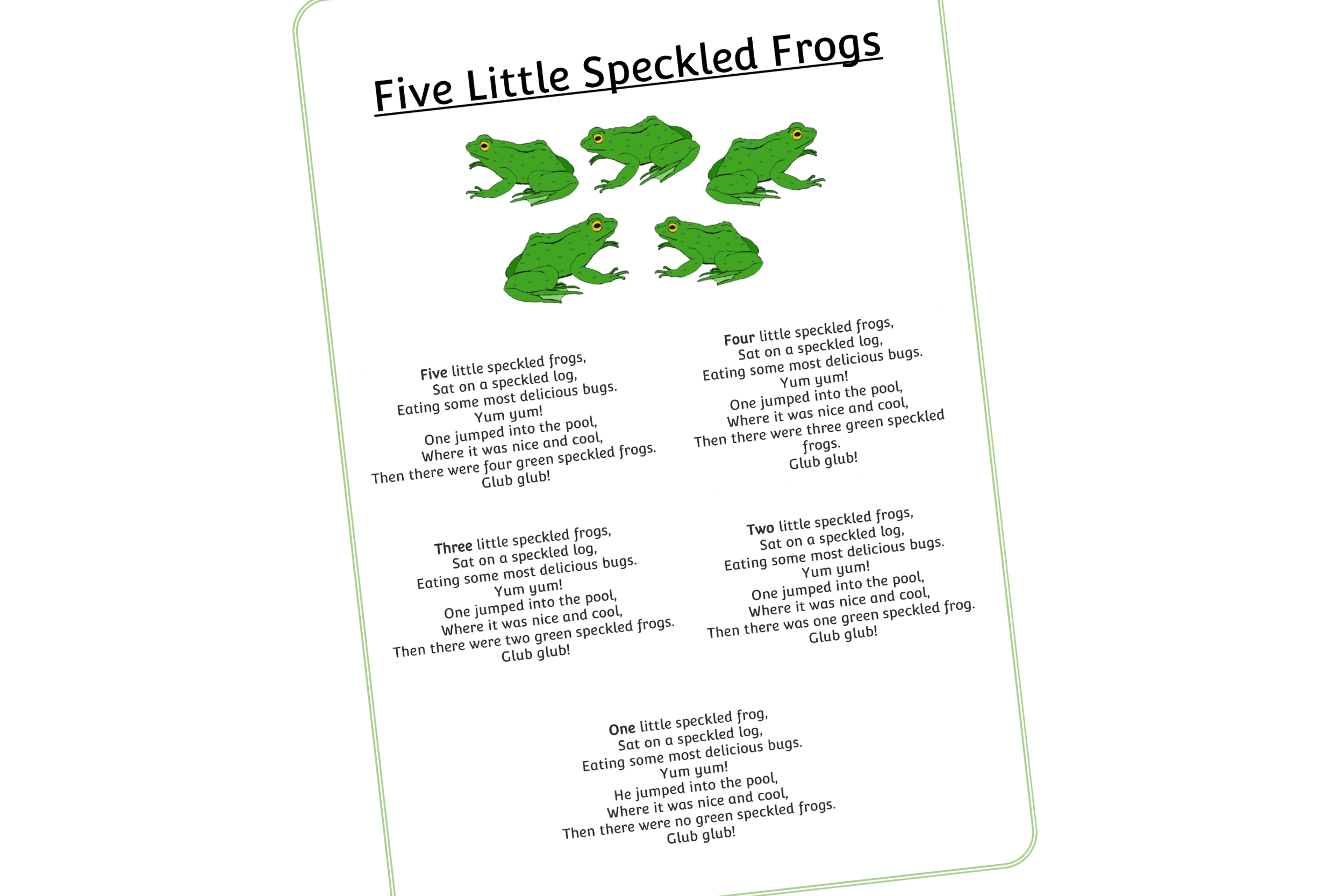 FIVE SPECKLED FROGS WORDS