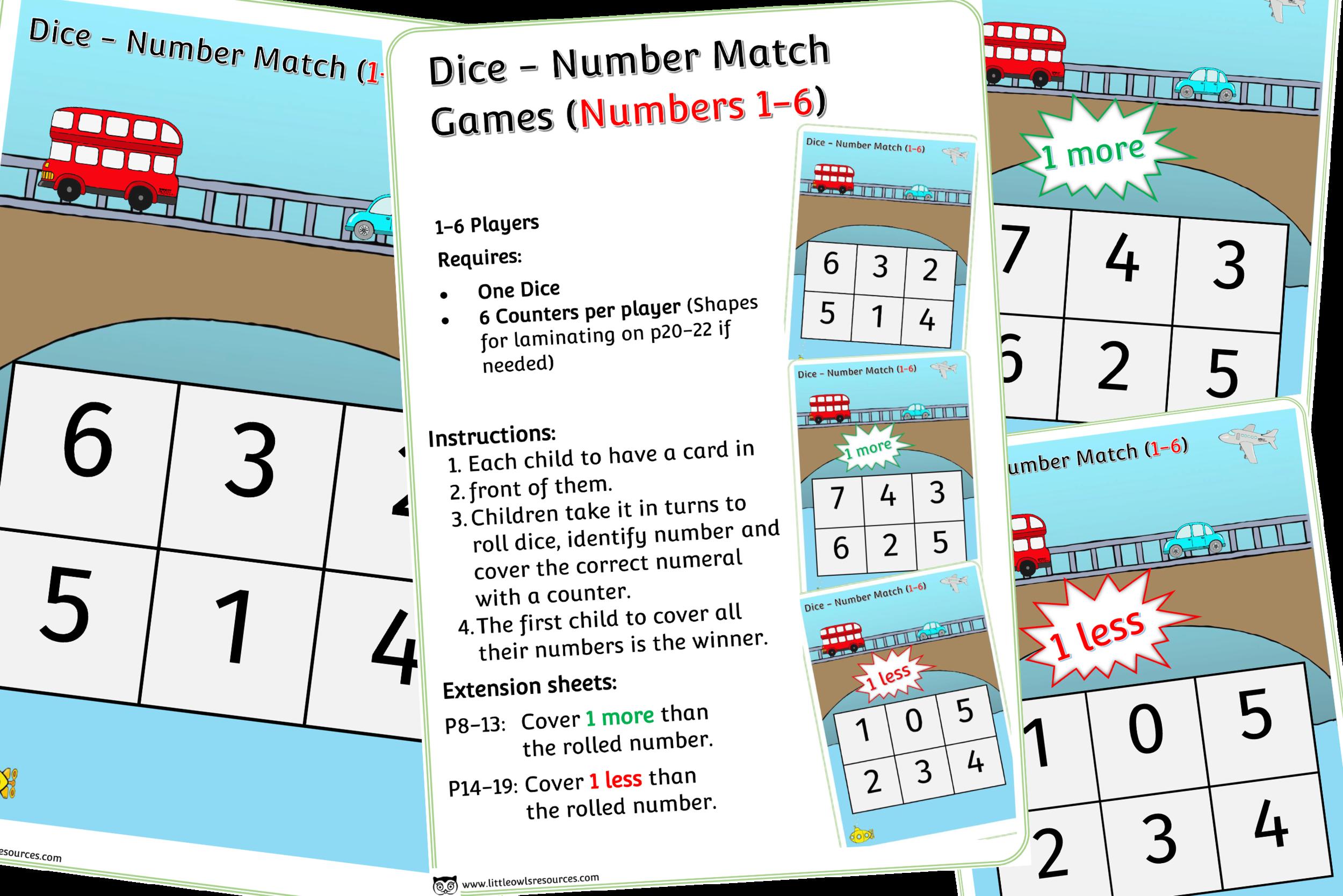 VEHICLES THEME DICE GAMES (1-6)