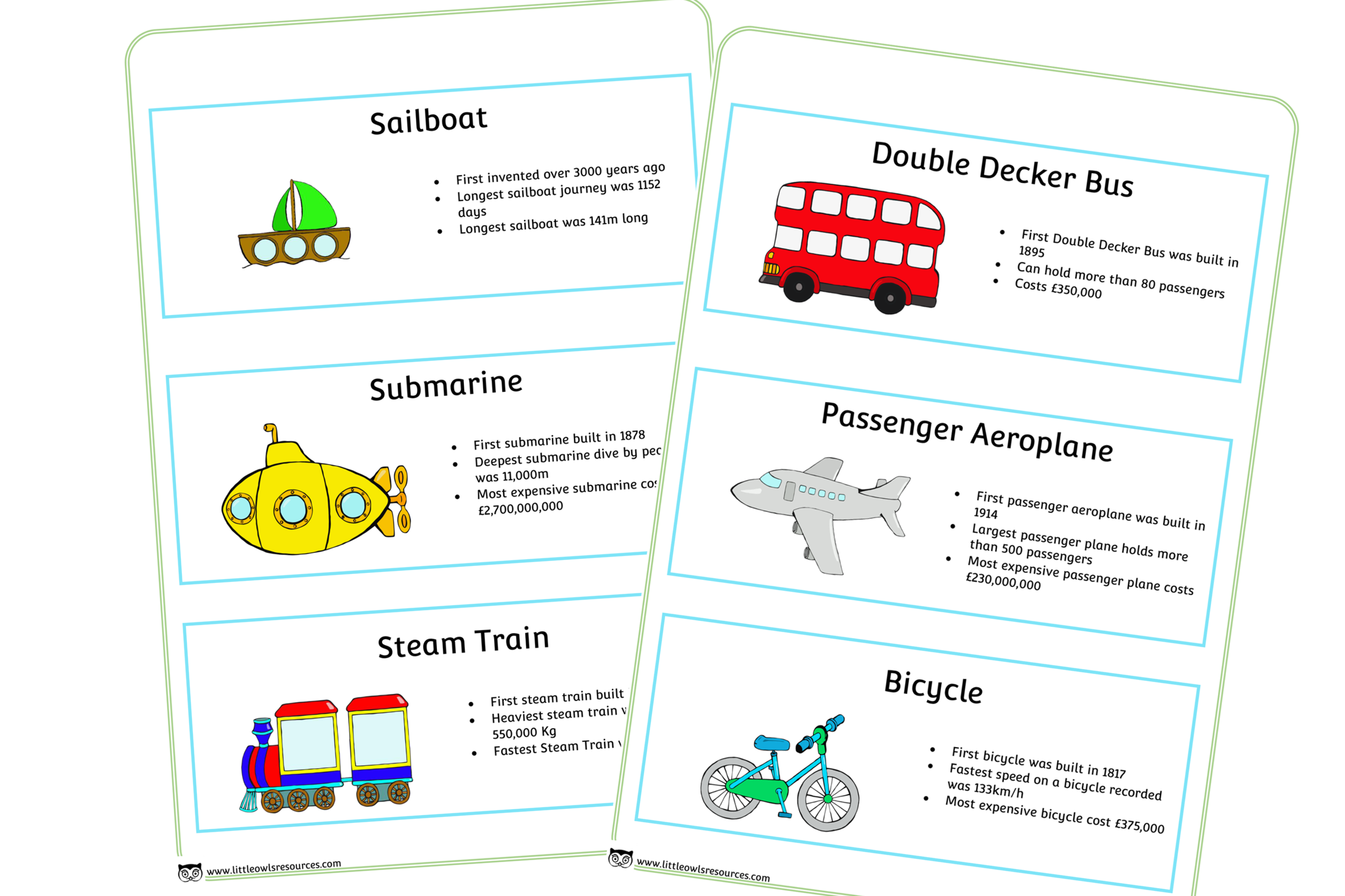 VEHICLES FACT CARDS