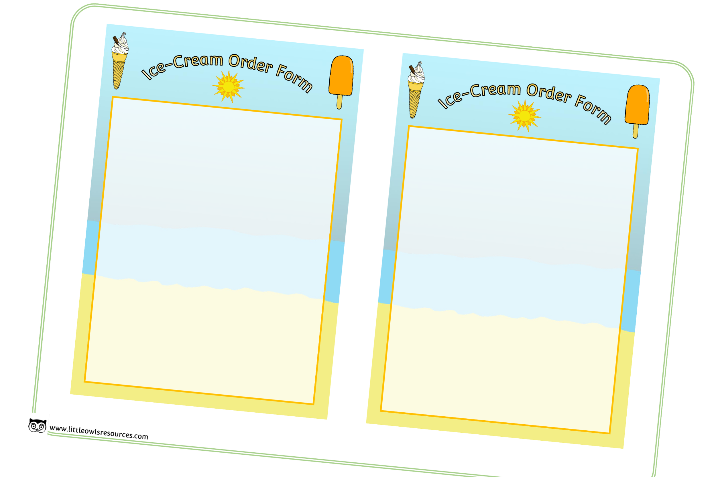 Ice Cream Order Forms