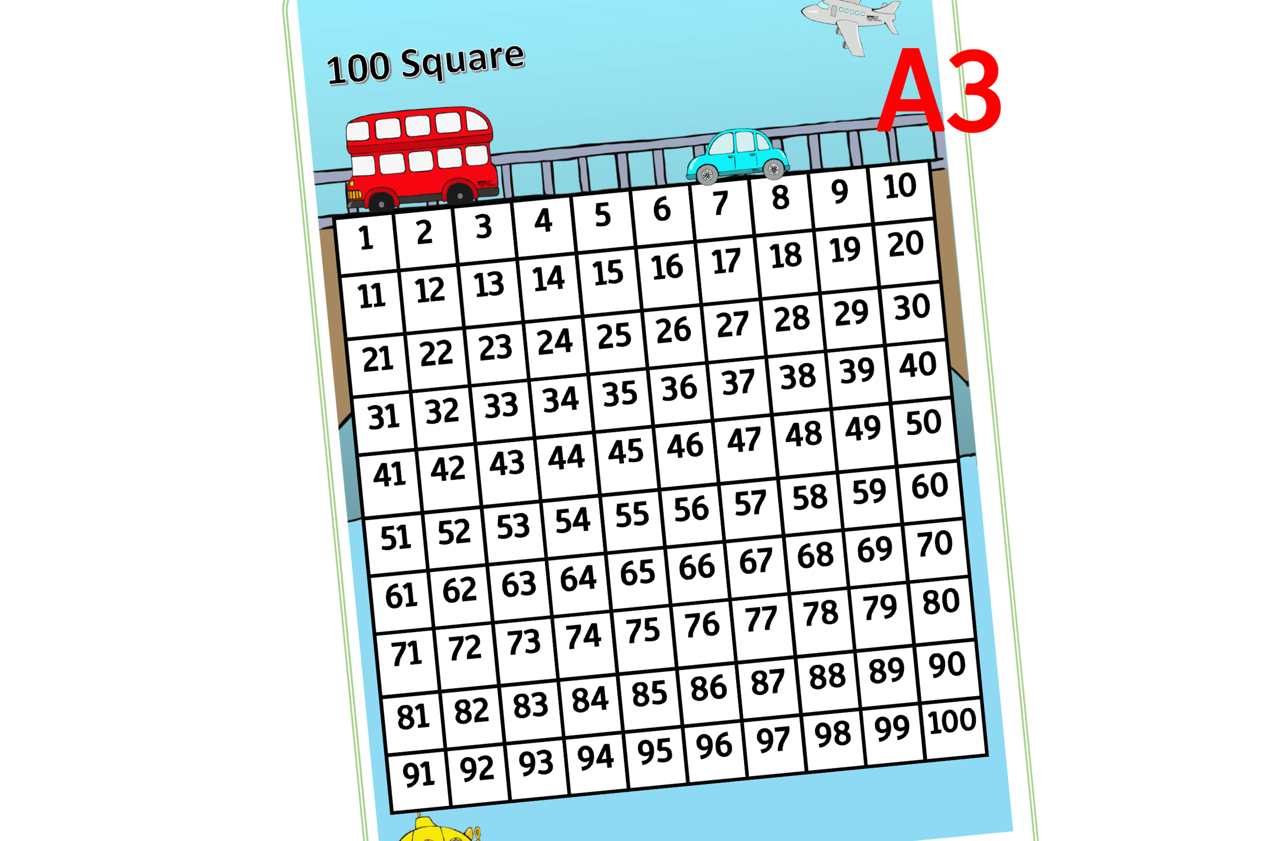 photograph relating to 100 Square Printable identified as Free of charge Car 100 Sq. - A3 - Early Decades (EYFS) Printable