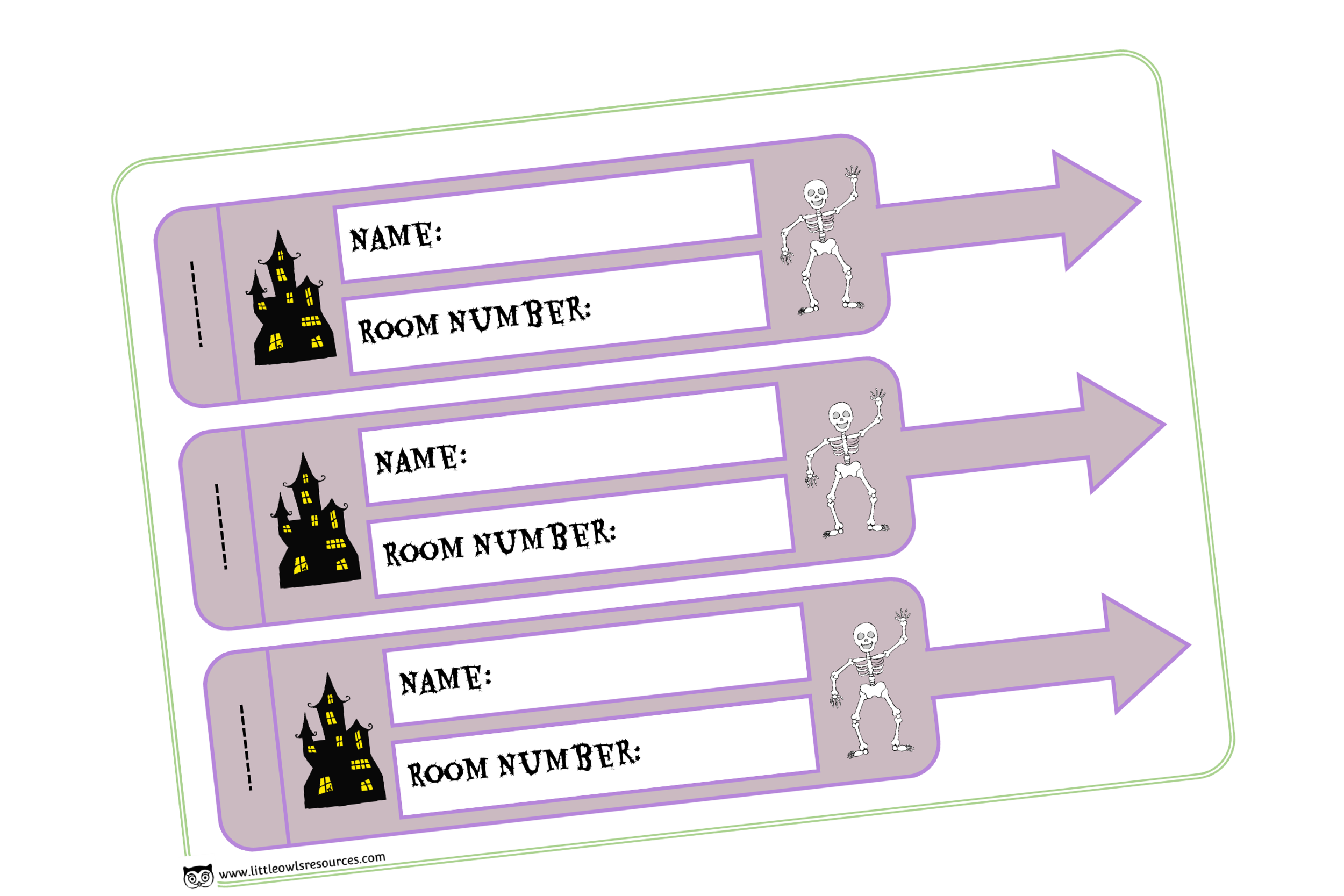 SPOOKY HALLOWEEN HOTEL LUGGAGE TAGS