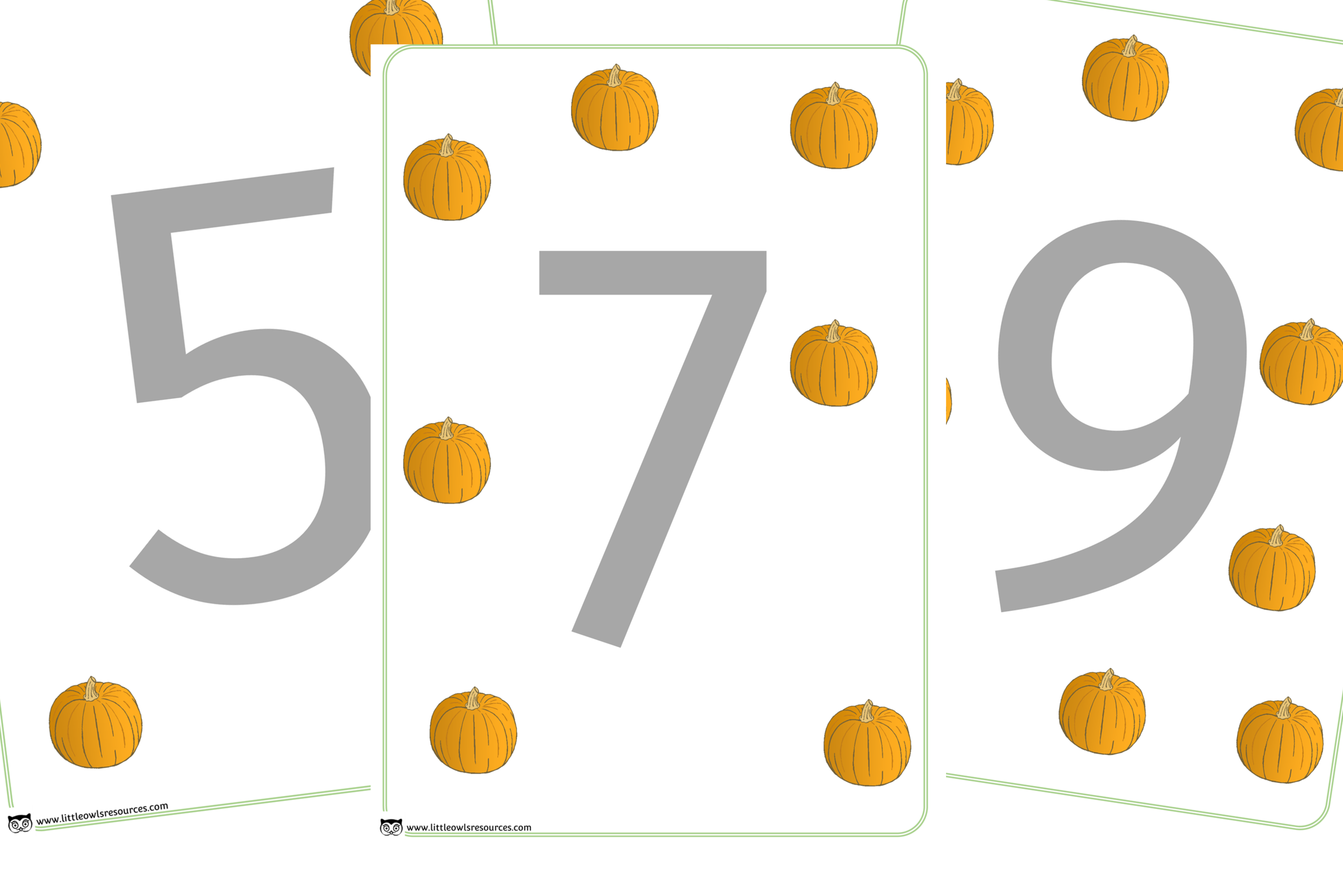 Pumpkin Number Counting Playdough Mats