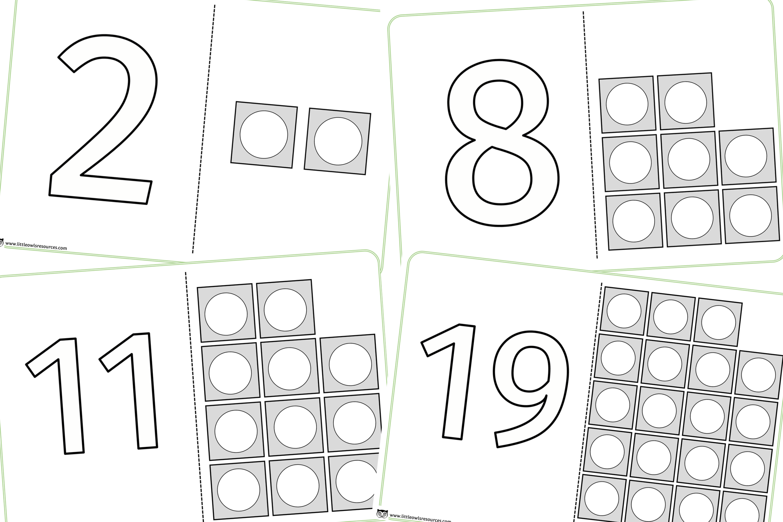 Number ordering and recognition transitory art sheets