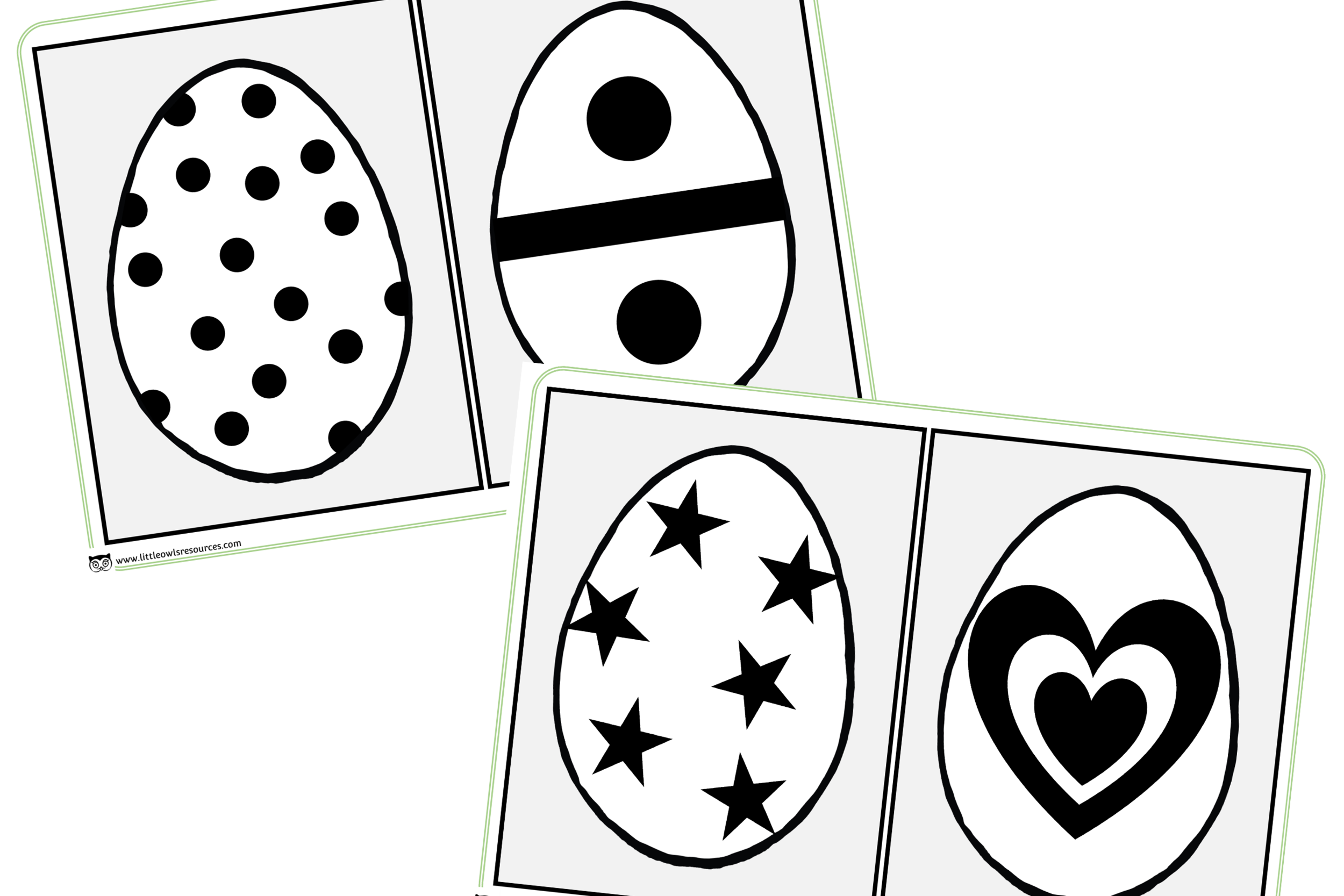 High Contrast Black and White Egg Images for Babies