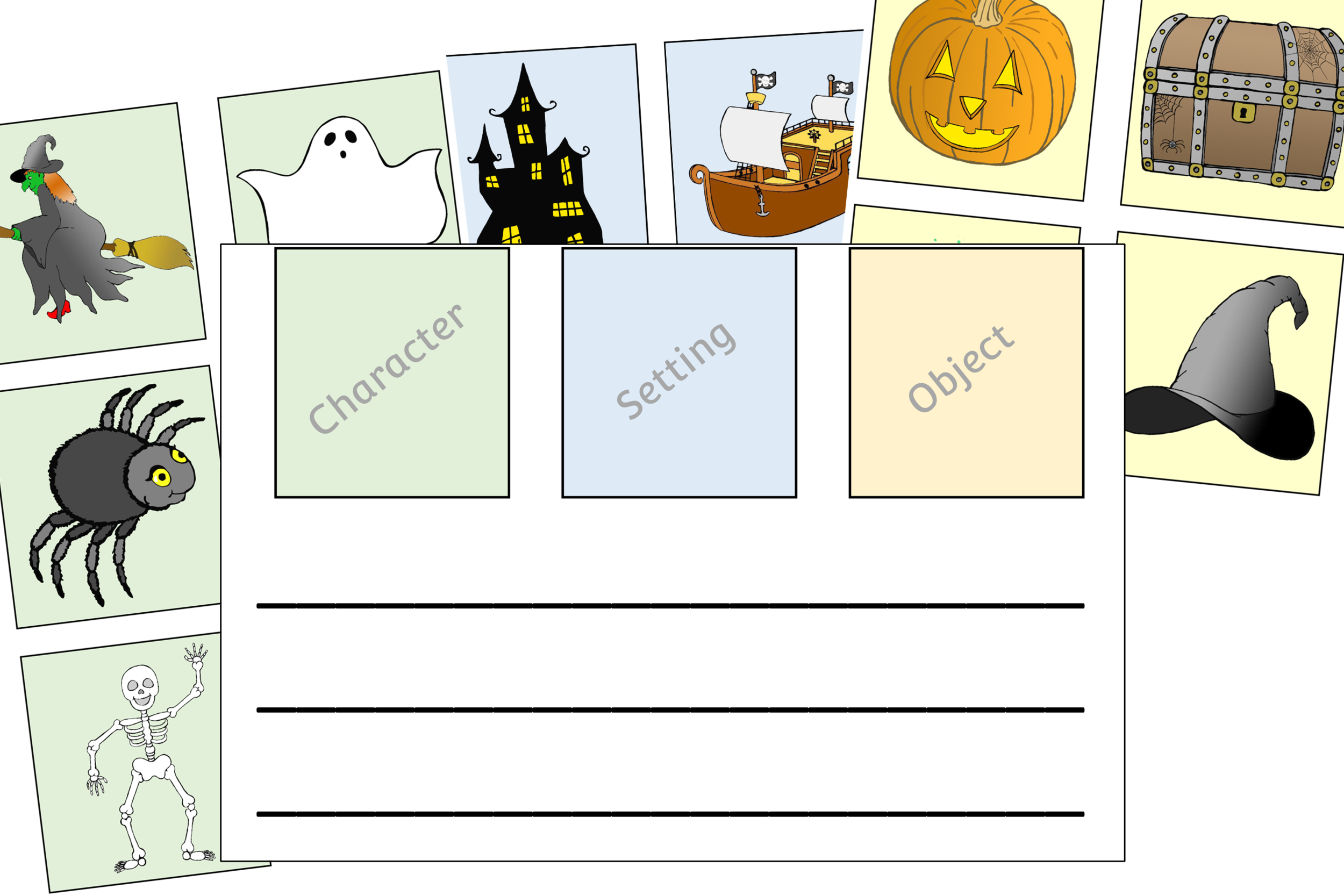 Halloween Cut, Stick, Write Story Planning Sheets