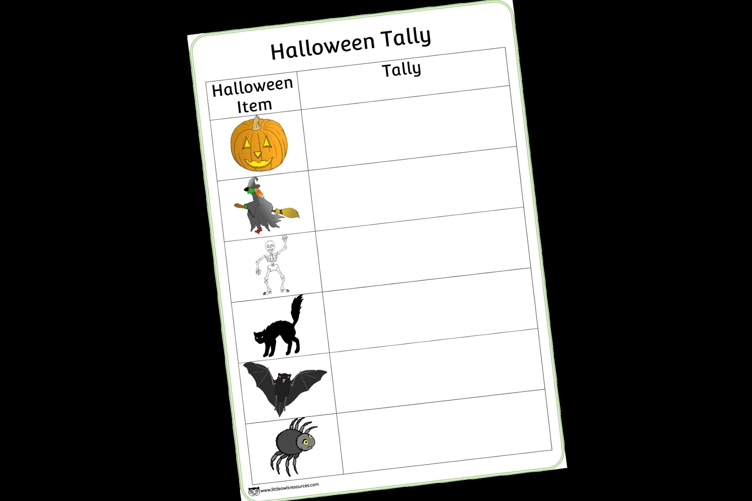 Halloween Tally Chart/Hunt Sheet