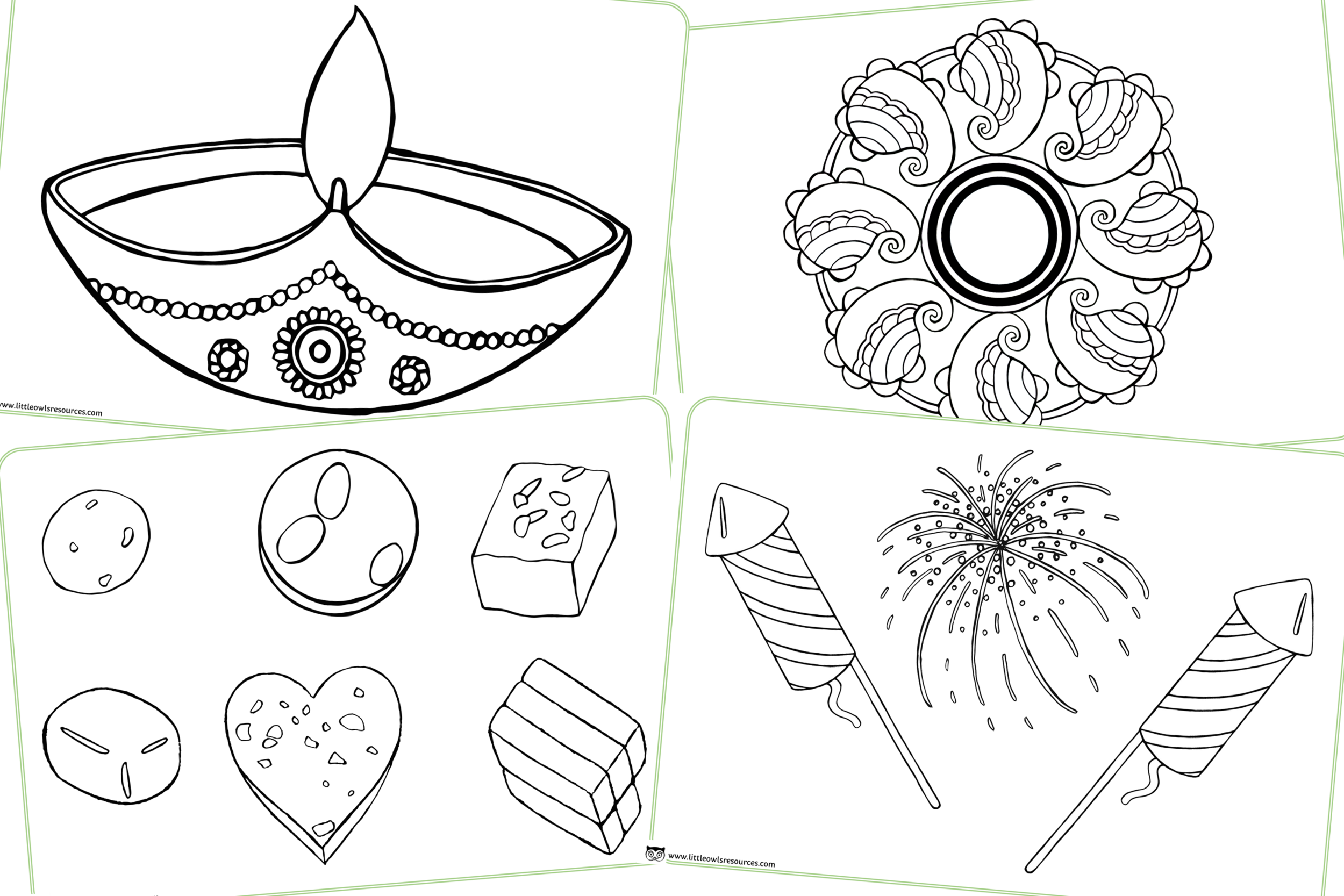 Diwali colouring sheets/pages