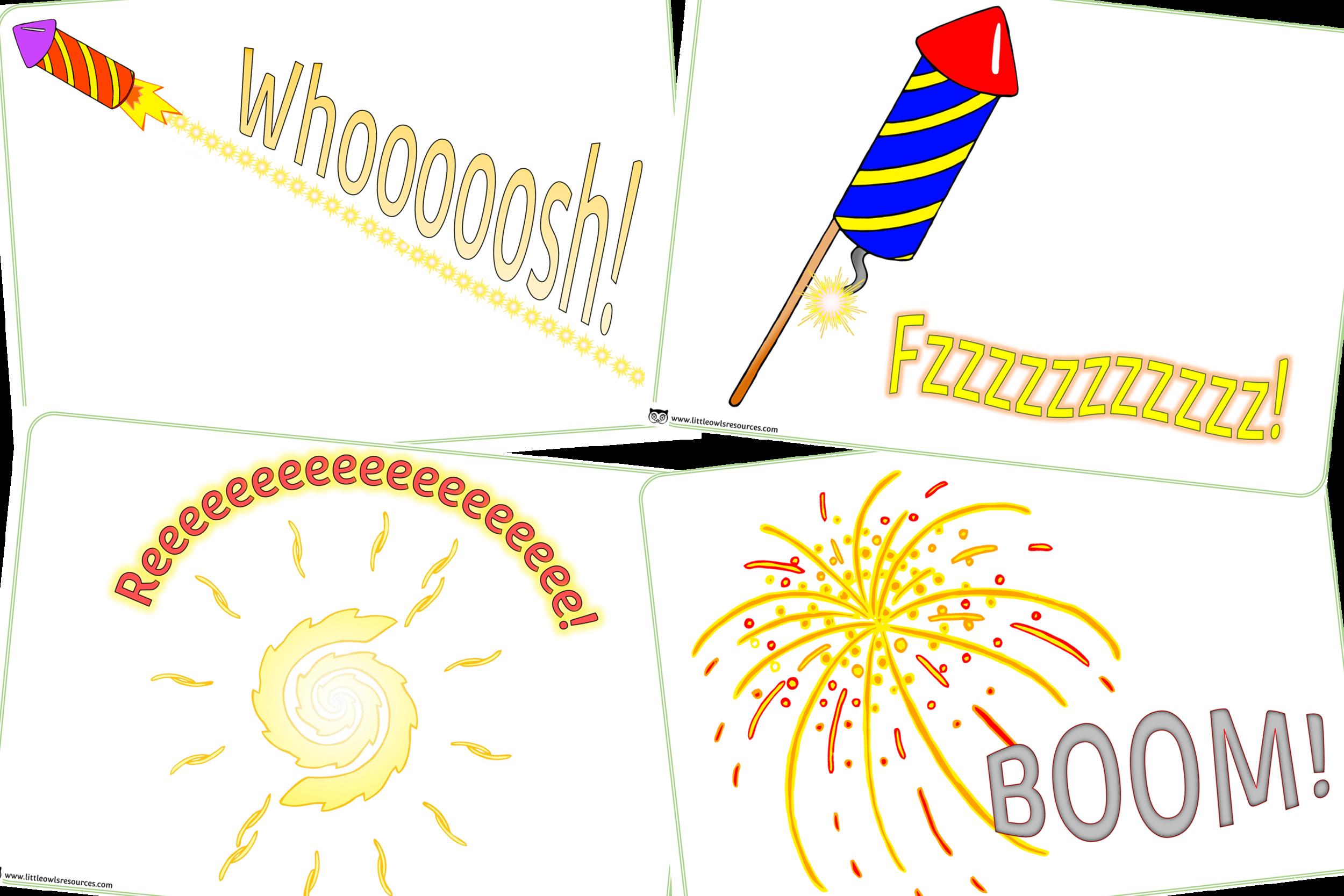 Firework onomatopoeic/phase 1 sound posters