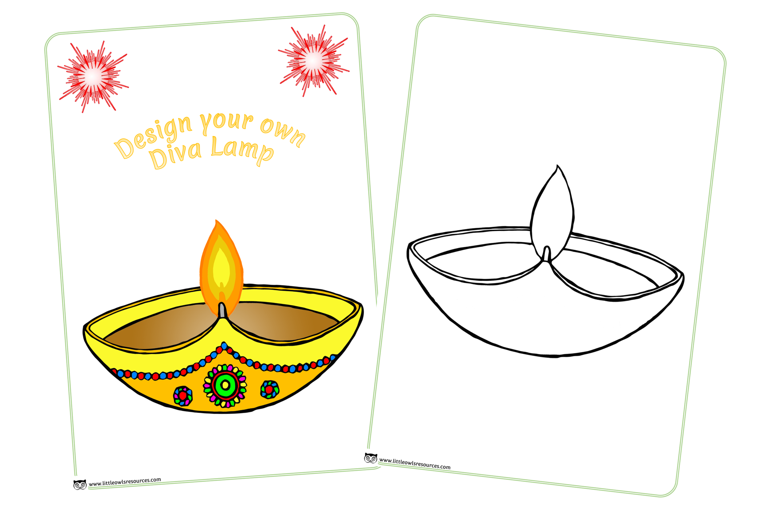 Design your own diva lamp activity sheets