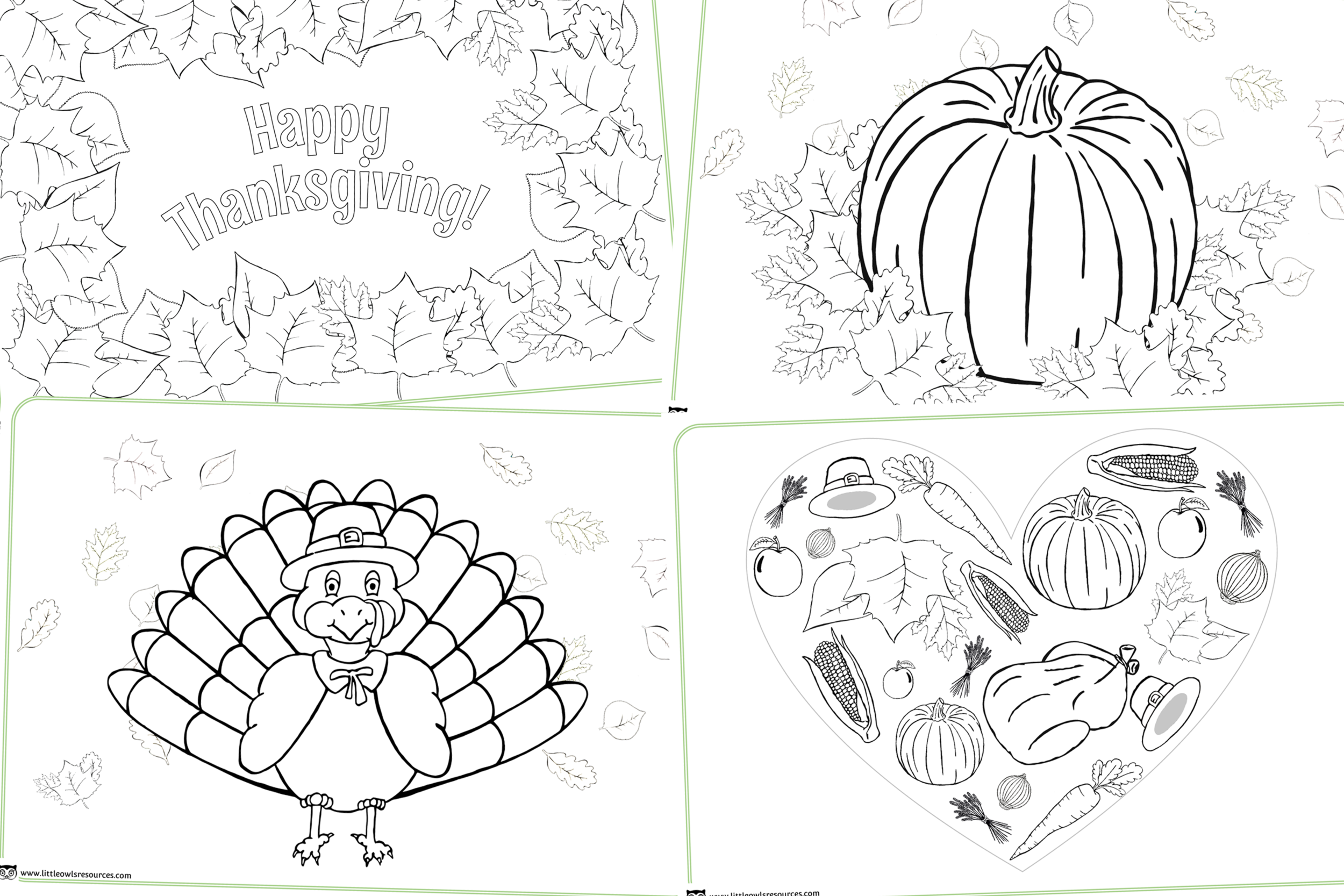 'Thanksgiving' themed Colouring Sheets