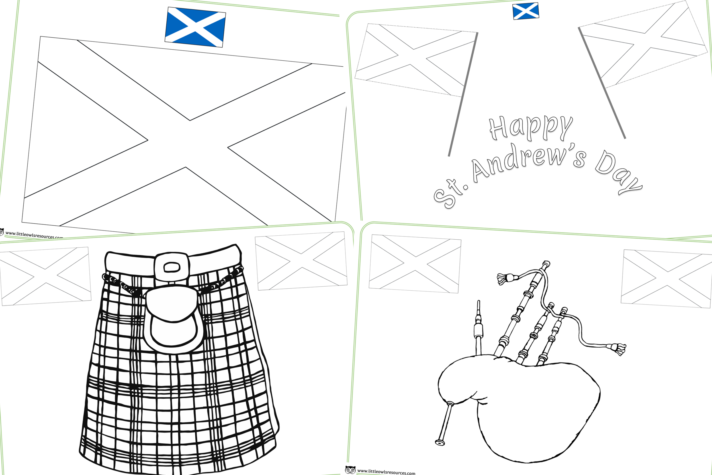 St. Andrew's Day/Scottish Colouring Sheets/Pages