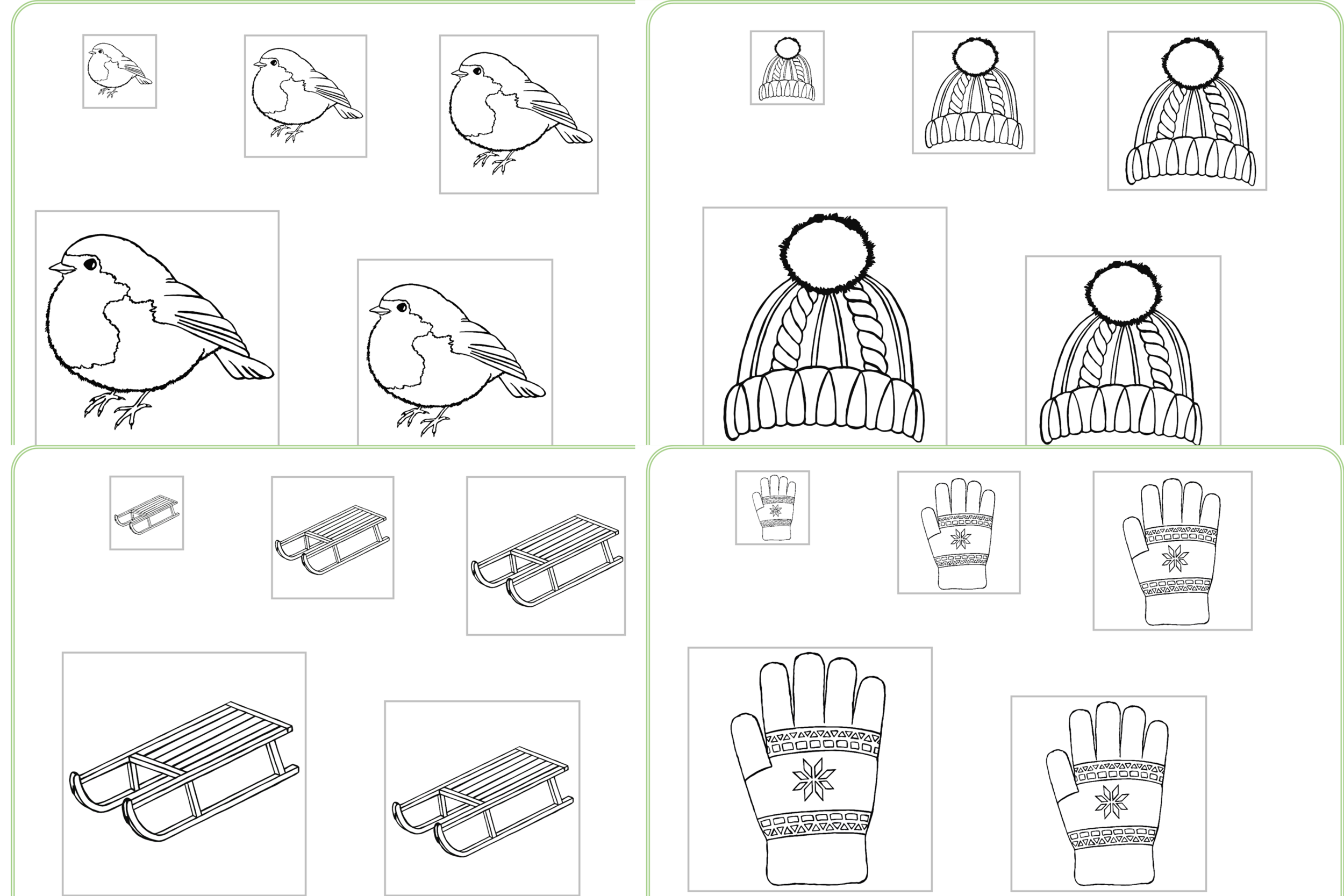 Winter Size Ordering Colour, Cut and Stick Activities