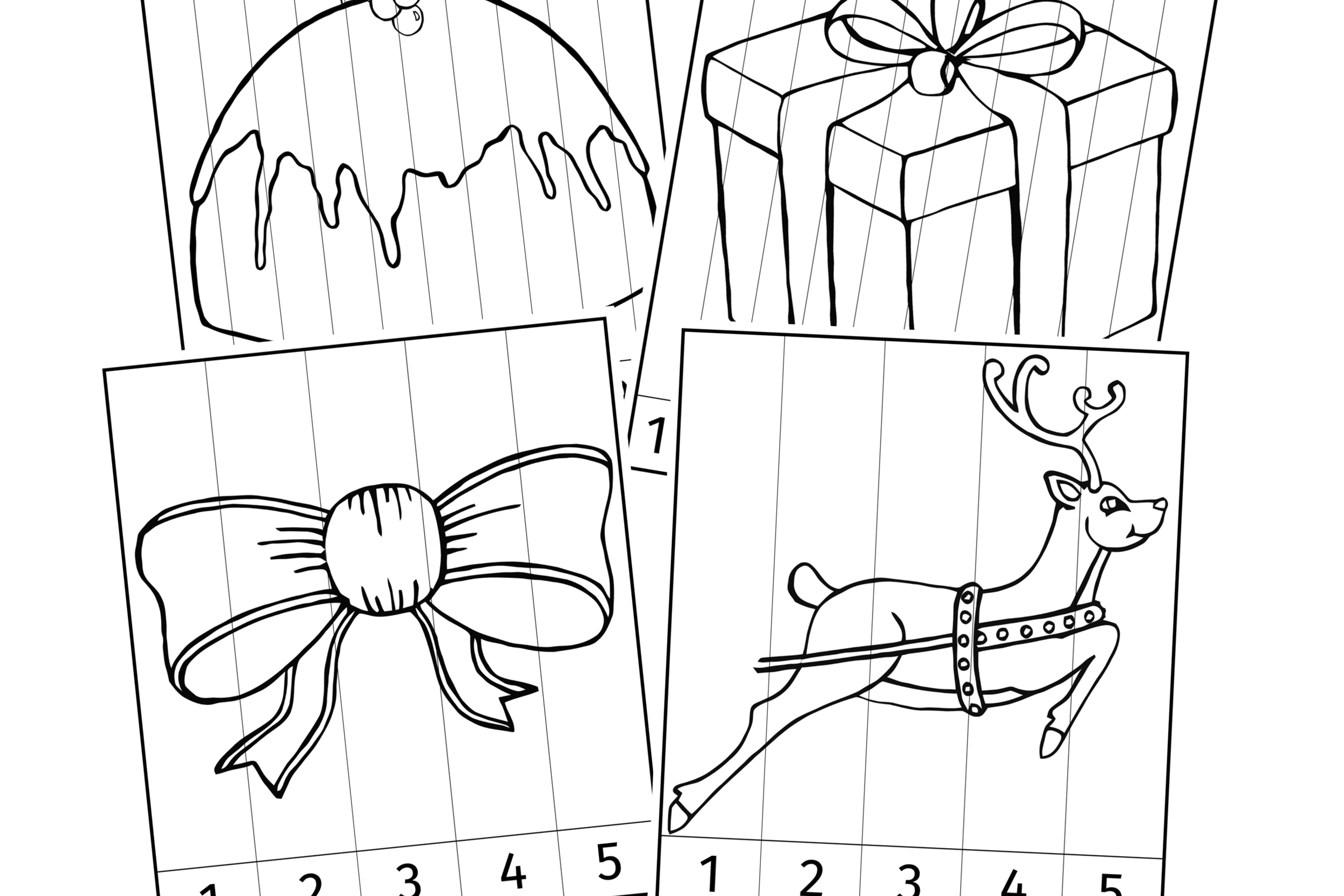 Christmas Number Slice Colouring Picture Puzzle Activities/Games