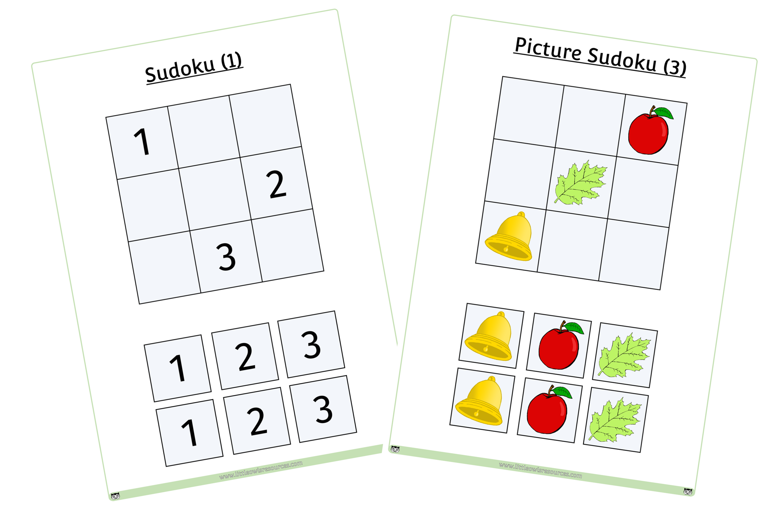 Basic Sudoku puzzles - numbers or pictures - problem solving challenge