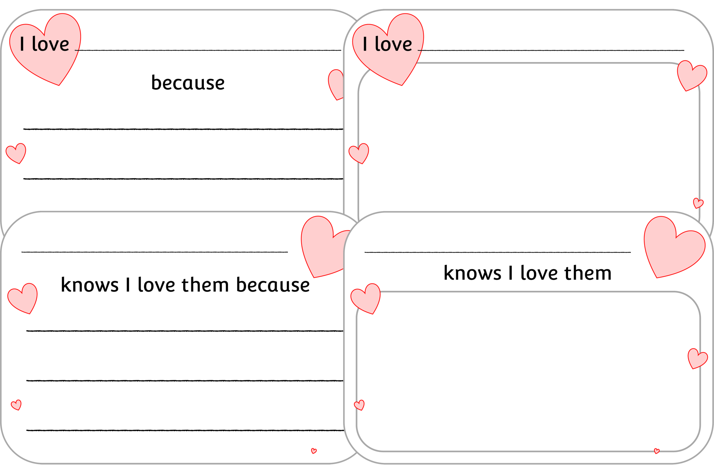I LOVE… DISCUSSION/THOUGHT PROVOKING SHEETS