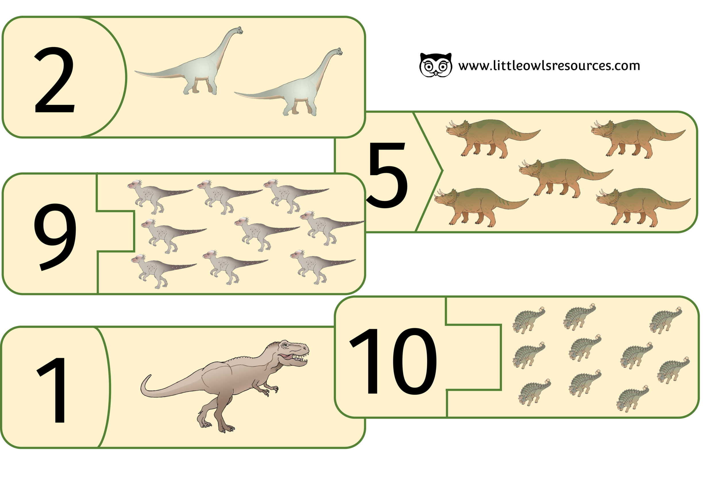 DINOSAUR COUNTING PUZZLES 1-10